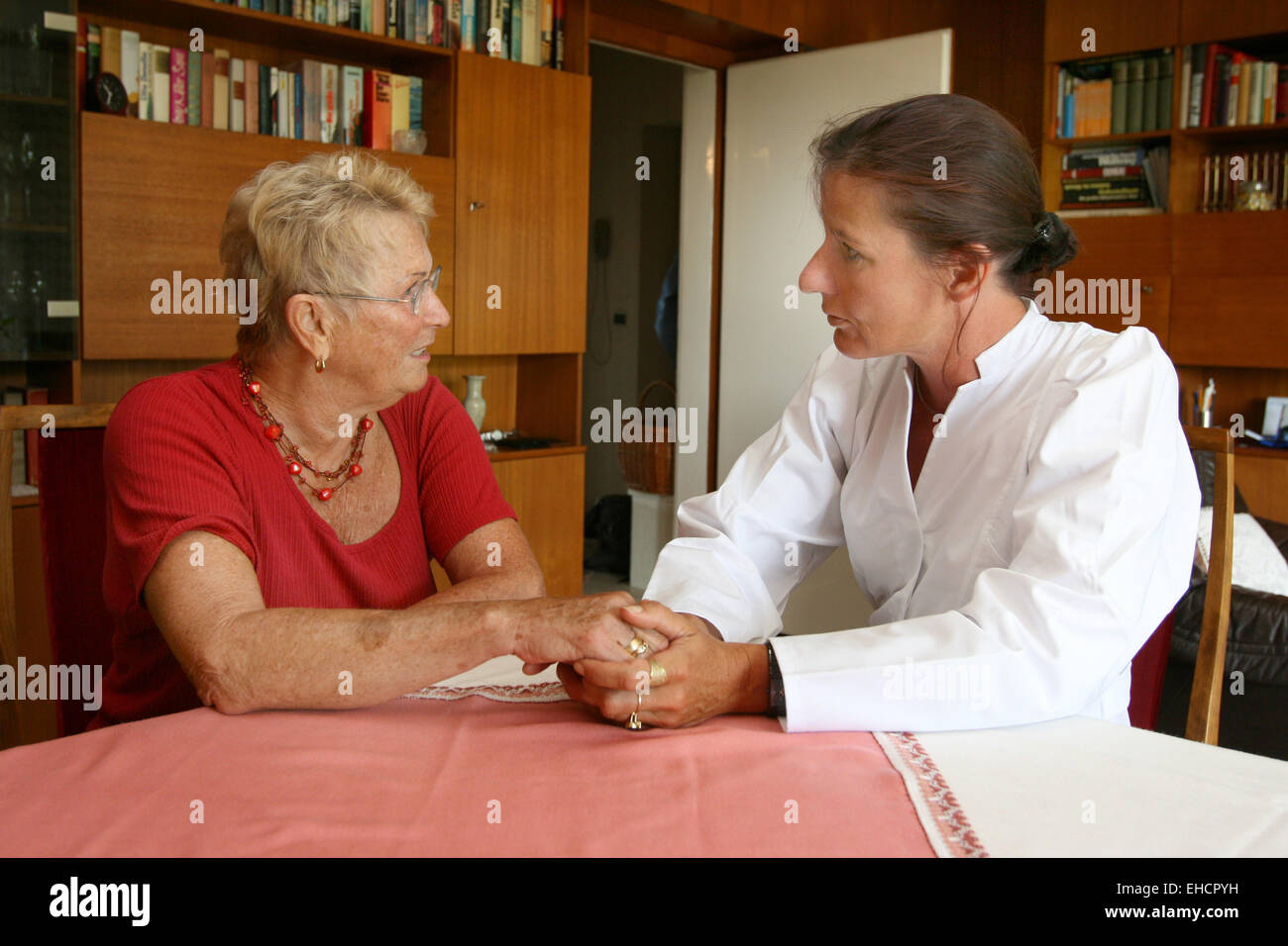 Senior citizen with a nurse Stock Photo