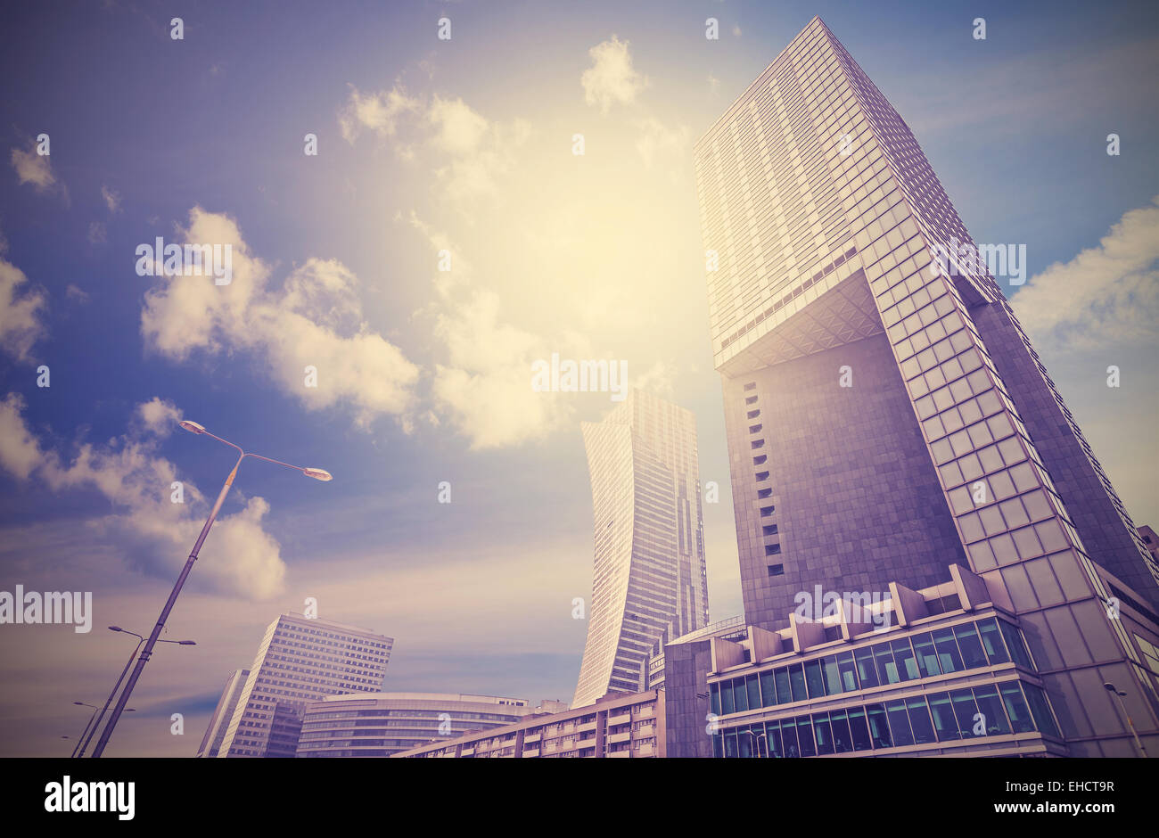 Urban landscape in retro style, Warsaw skyline, Poland. - Stock Image