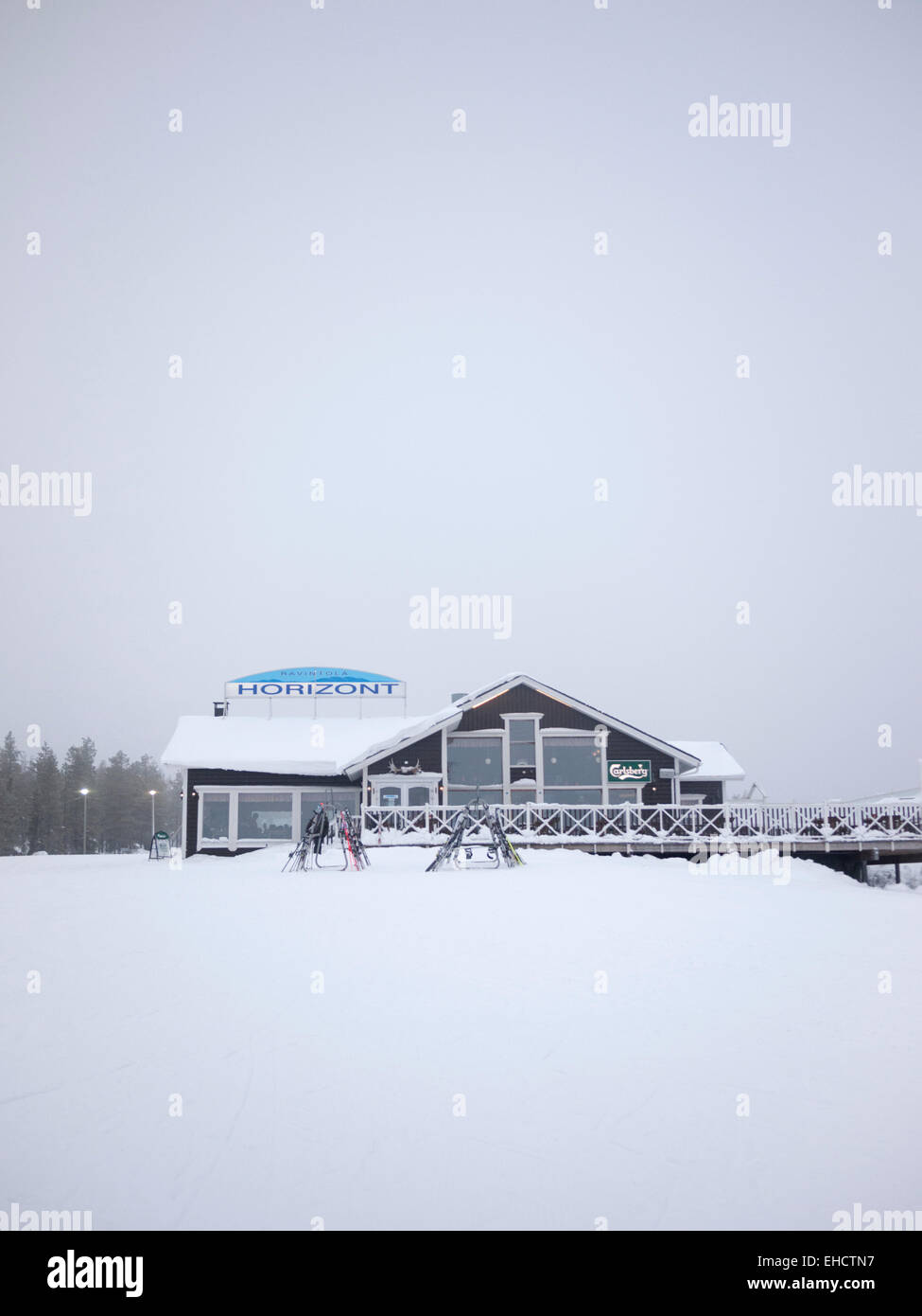 The Horizont mountain cafe and restaurant at the ski resort of Levi Lapland Finland - Stock Image