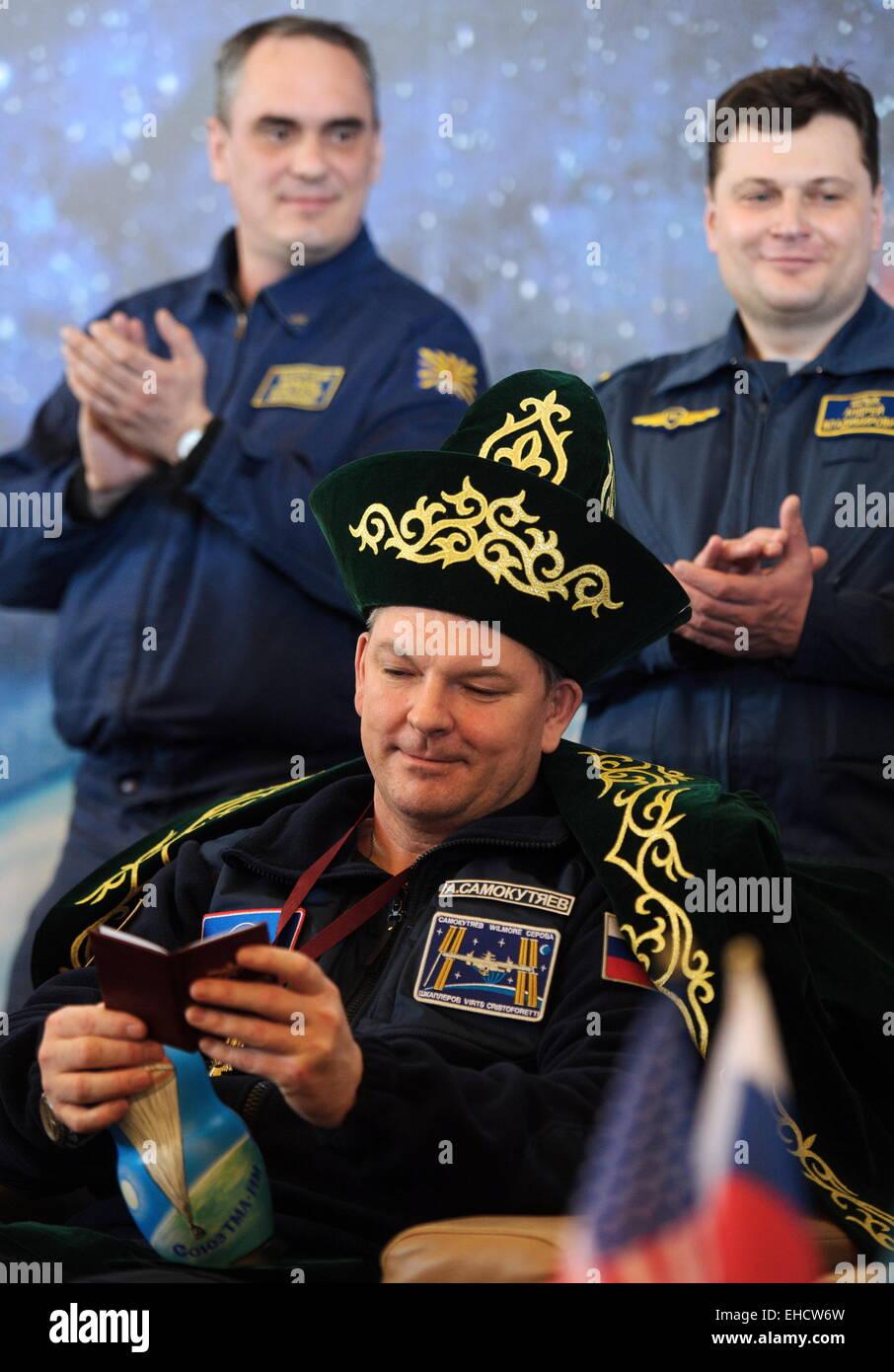 Qaraghandy, Kazakhstan. 12th Mar, 2015. Soyuz TMA-14M spacecraft crew member, Russia's cosmonaut Alexander Samokutyayev - Stock Image