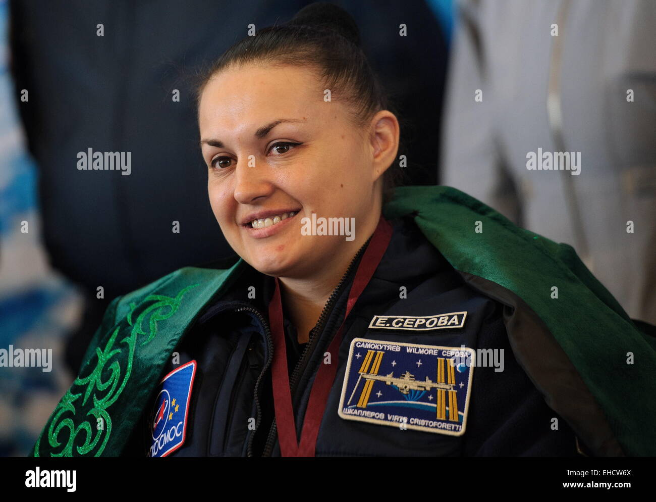 Qaraghandy, Kazakhstan. 12th Mar, 2015. Soyuz TMA-14M spacecraft crew member, Russia's cosmonaut Yelena Serova - Stock Image