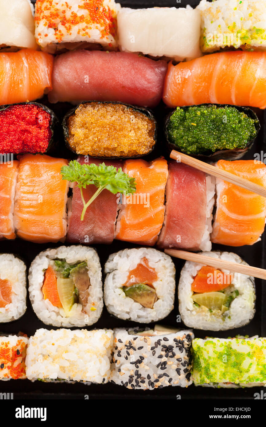 Sushi pieces shot from aerial perspective Stock Photo