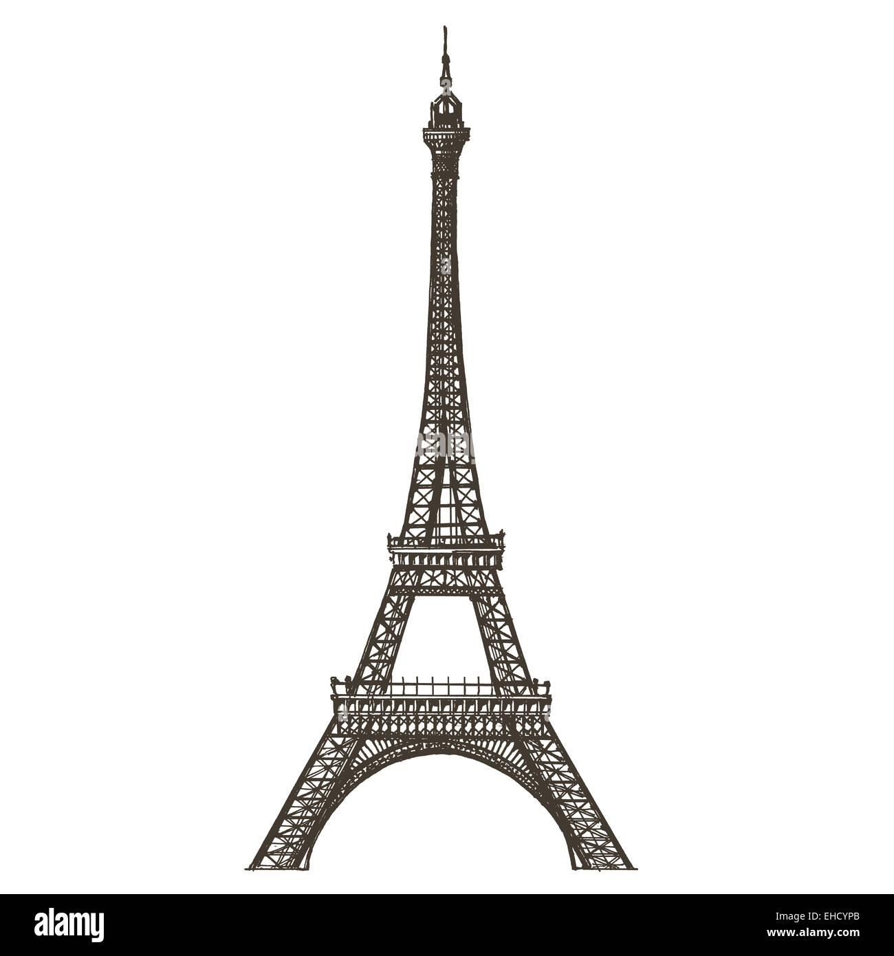 Eiffel tower vector logo design template. Paris or France icon. - Stock Image