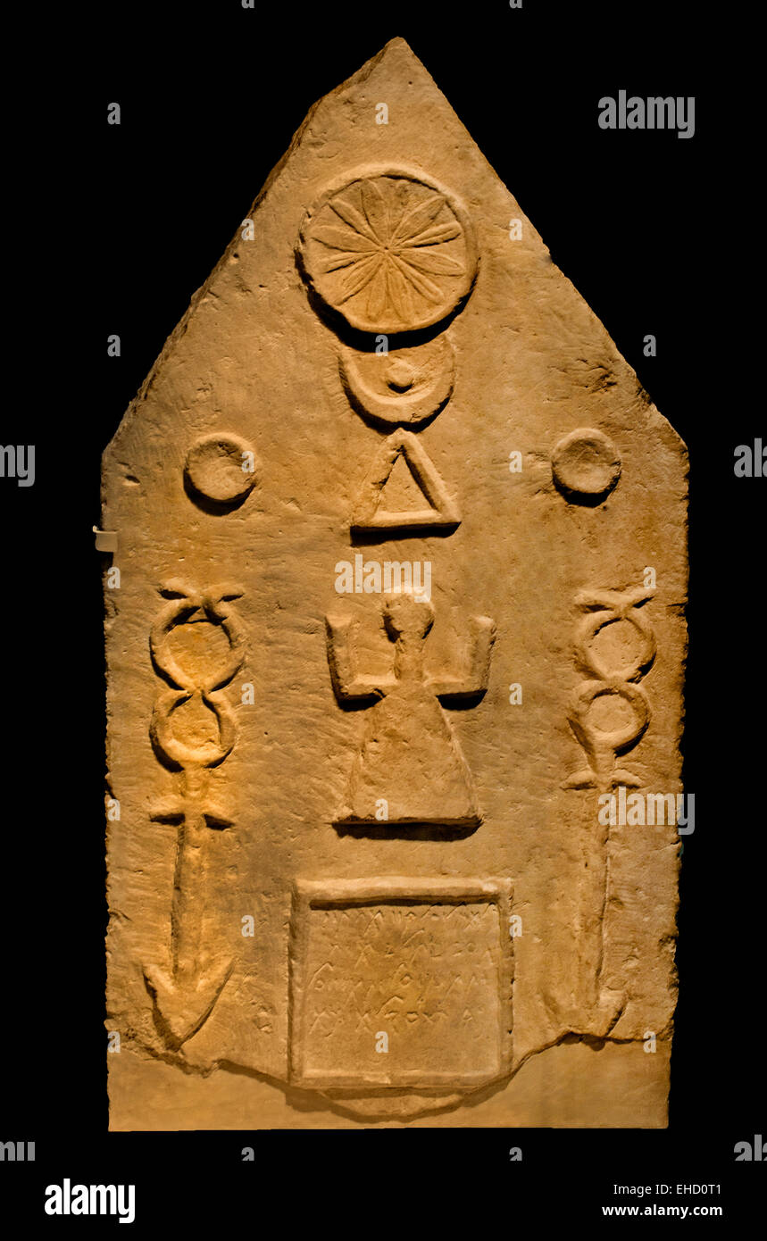 Punic stele  Roman Carthage elements from ancient Punic culture were combined with Roman influences. 1 -  2nd century Stock Photo