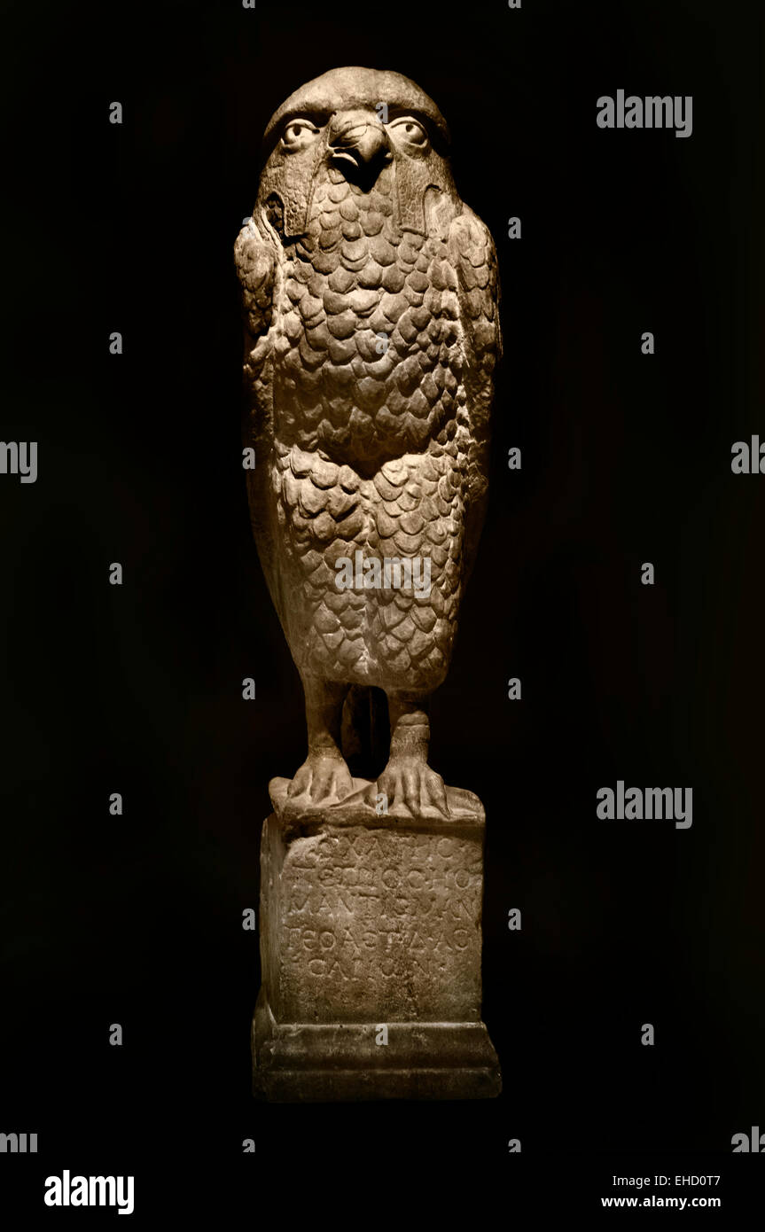 Owl Predicting ( soothsayer )  Archates Petrios, marble, Rome, 2 - 3 st century AD Roman Rome - Stock Image