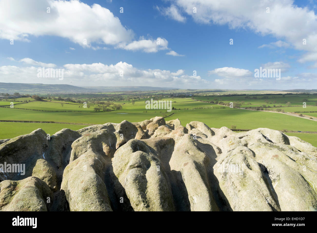 Almscliffe Crag millstone Grit outcrop at North Rigton, near Harrogate. - Stock Image