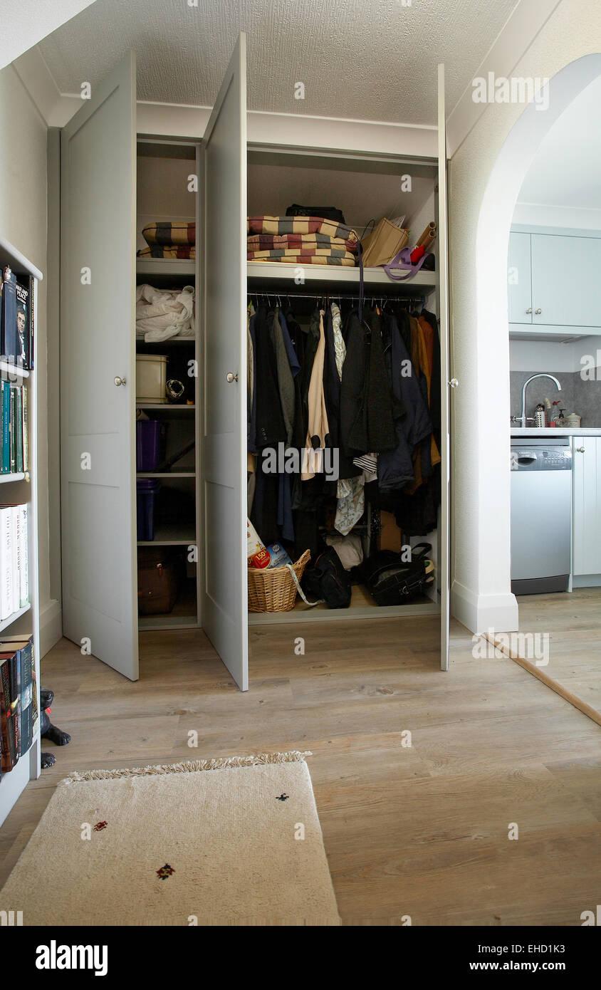 wooden open closet door clothes stock photos wooden open closet