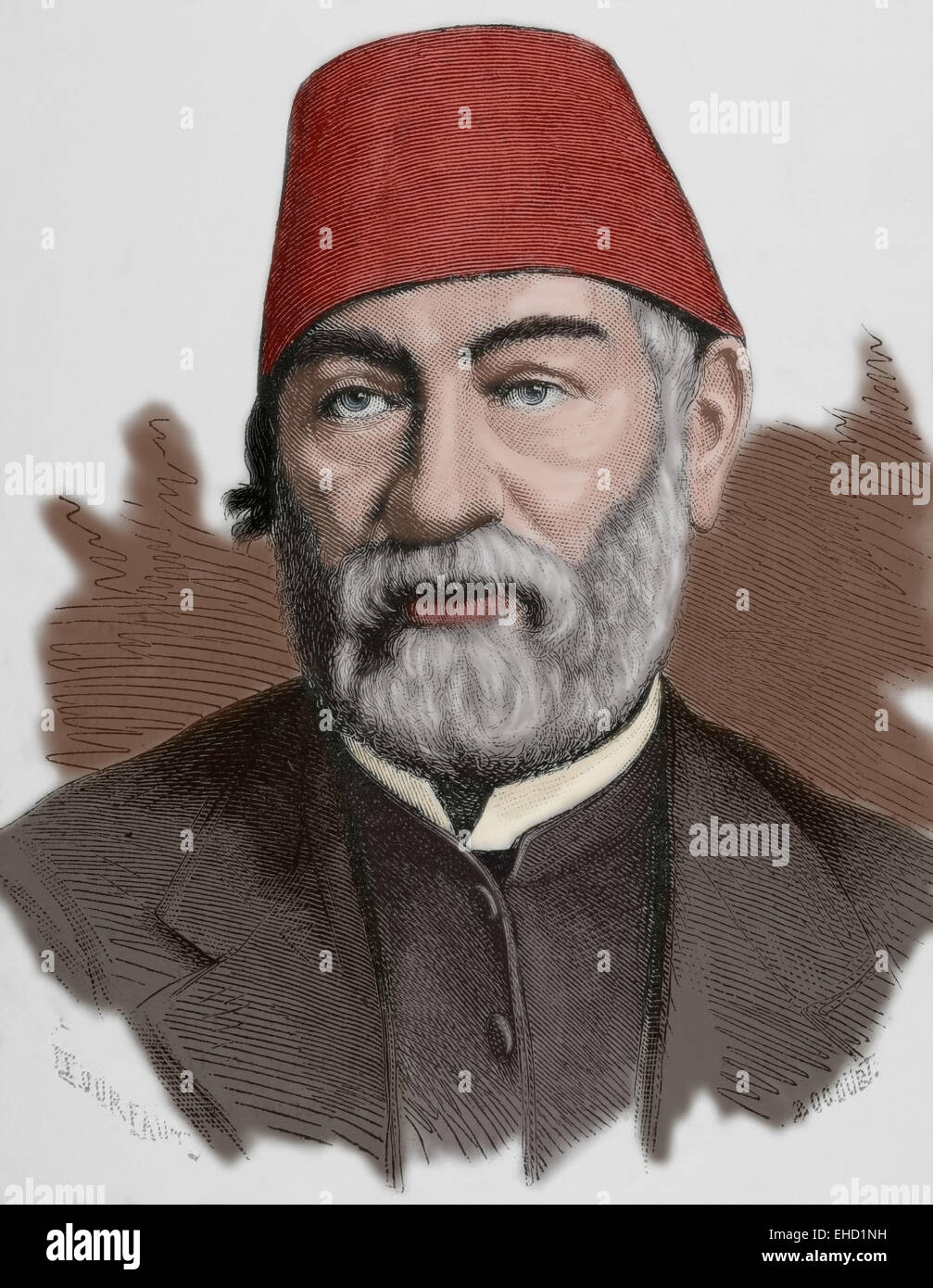 Auguste Mariette (1821-1881). French scholar, archaeologist and Egyptologist. Portrait. Engraving. Colored. - Stock Image