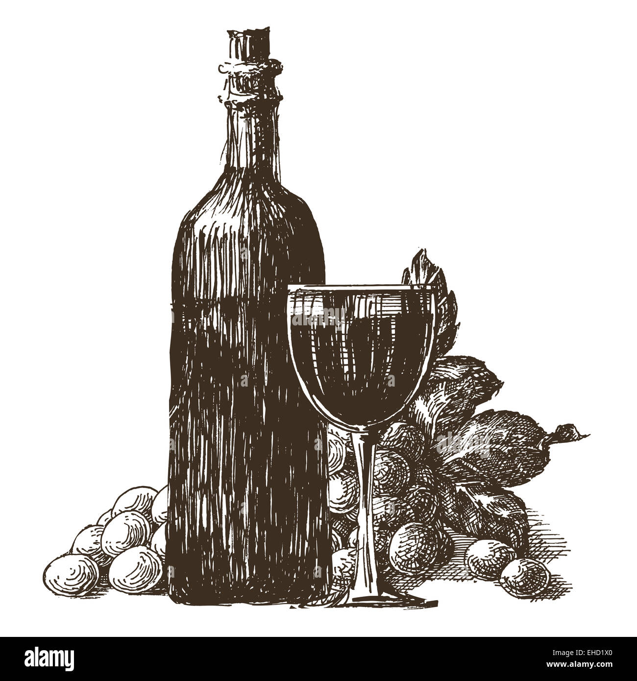 wine bottle vector logo design template. wineglass or grape icon. Stock Photo