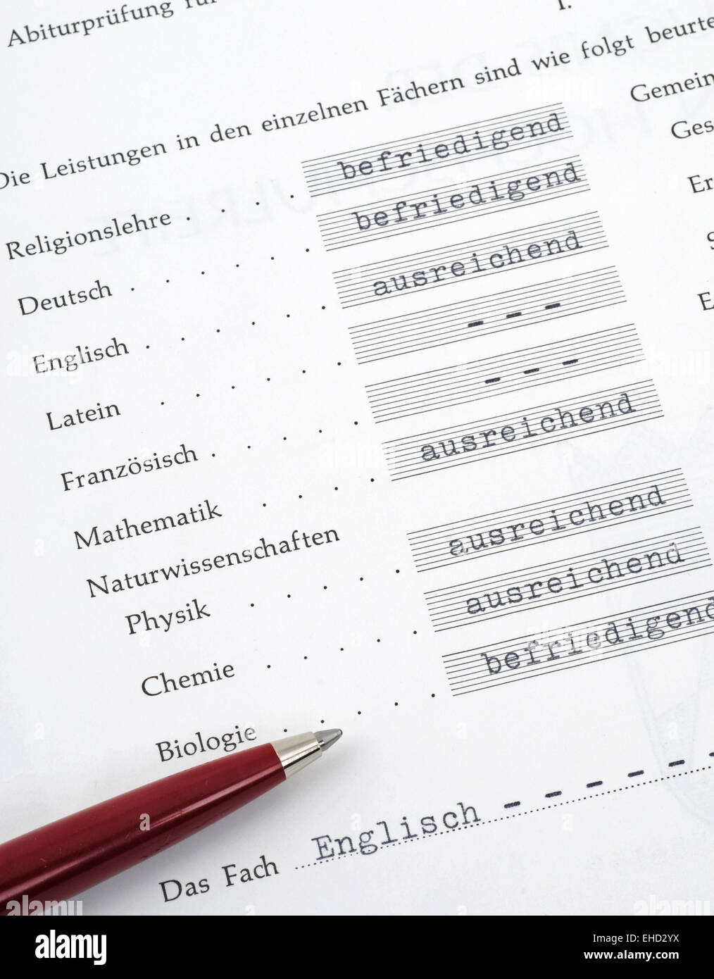 Report card - Stock Image