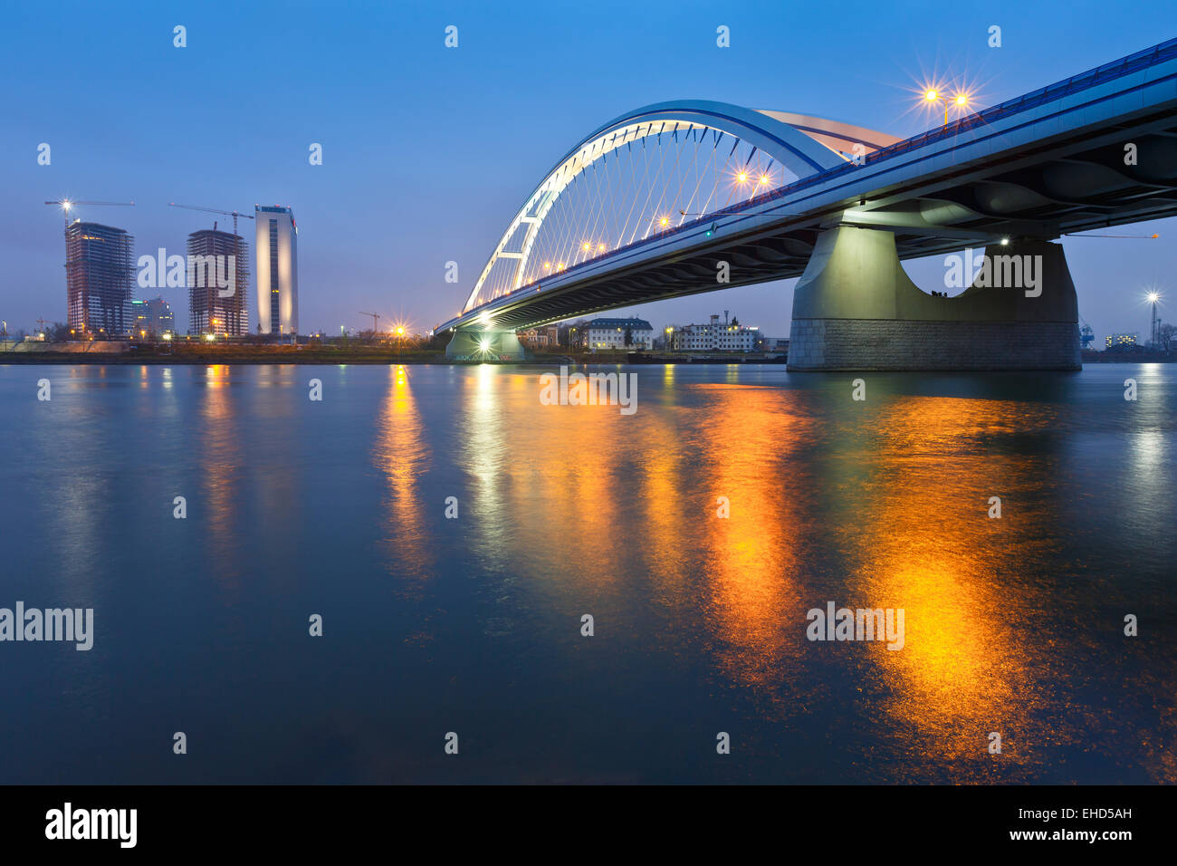 Apollo bridge and highrise buildings in Bratislava, Slovakia. - Stock Image