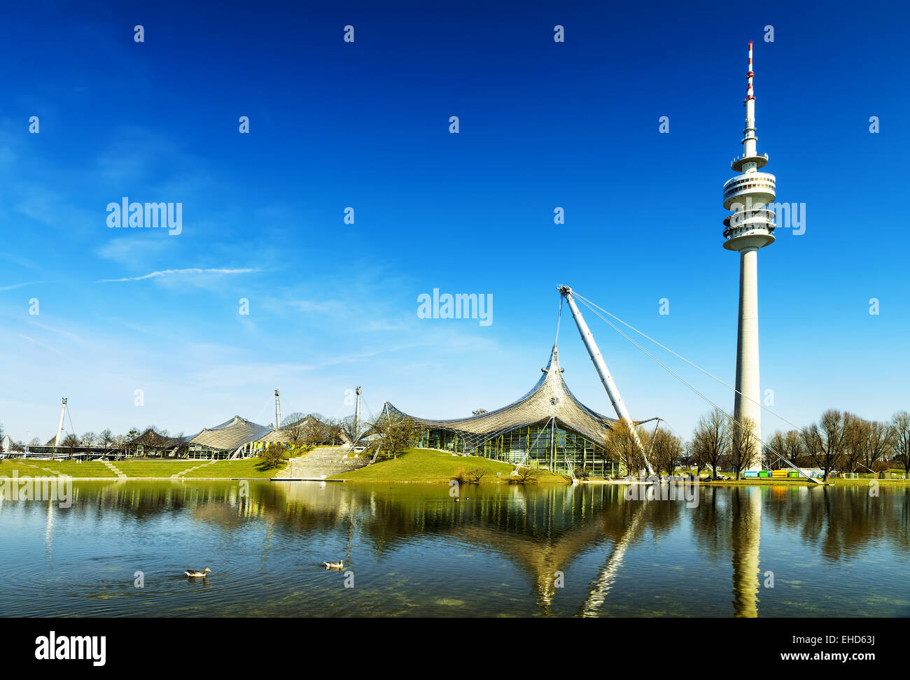 olympiapark, Munich Olympic Stadium and installation, Germany, Europe - Stock Image