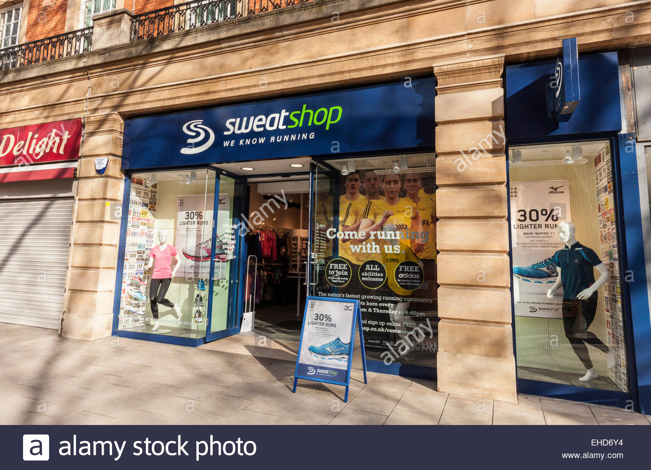 Sweatshop store in Peterborough, Cambridgeshire, UK - Stock Image