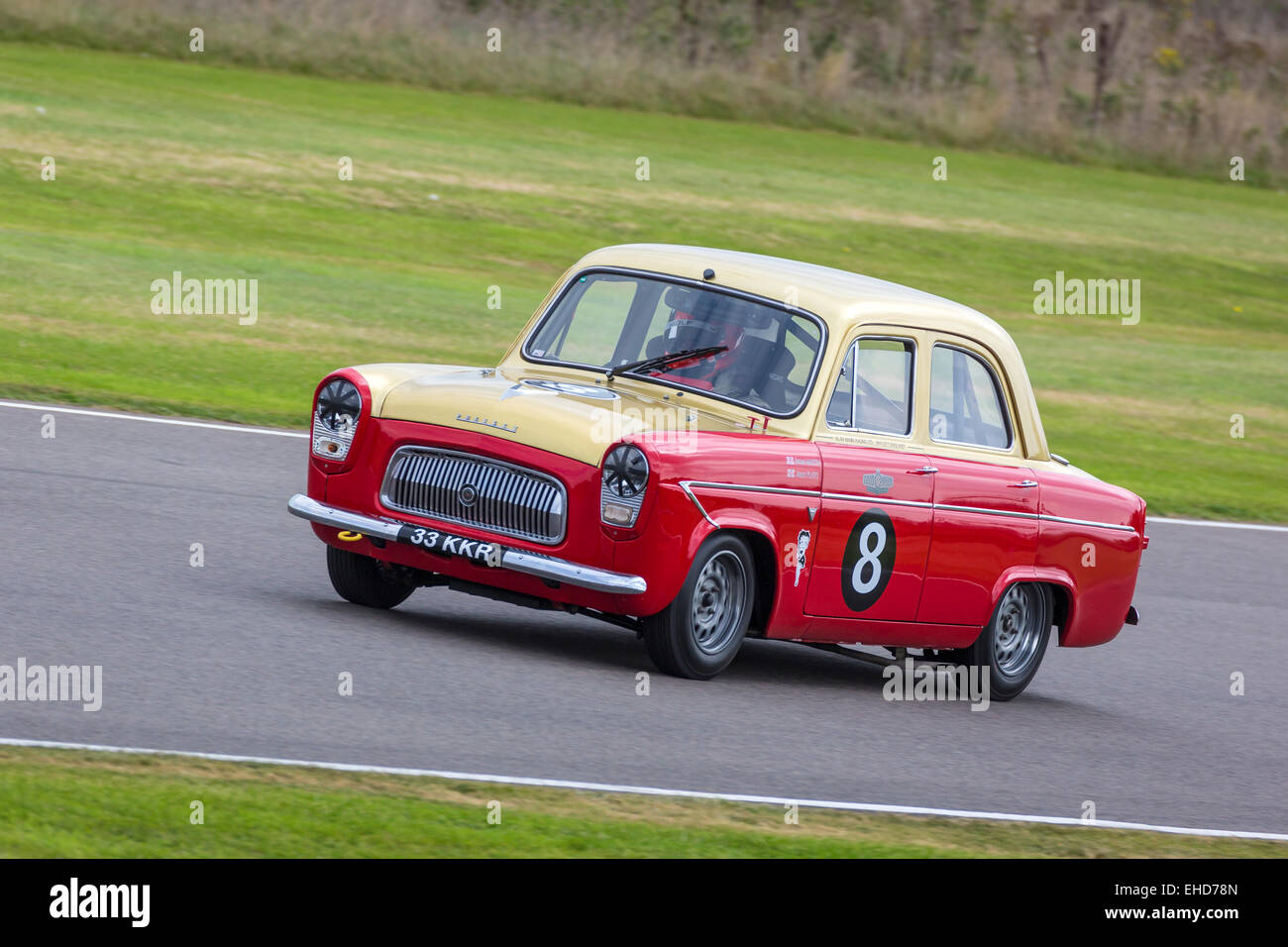 1959 Ford Prefect 107E with driver James Martin in the St Mary's Trophy race at the 2014 Goodwood Revival, Sussex, Stock Photo