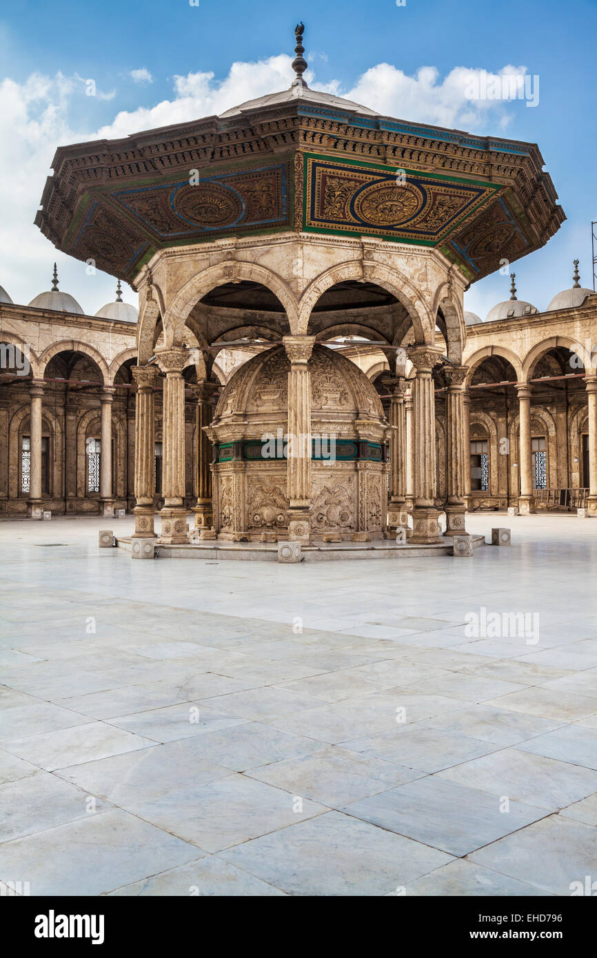 The marble ablution fountain in the courtyard of the great Mosque of Muhammad Ali Pasha or Citadel Mosque in Cairo. - Stock Image