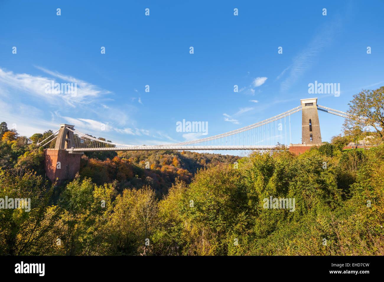 Wide view of Clifton Suspension Bridge in Bristol, England, UK Stock Photo