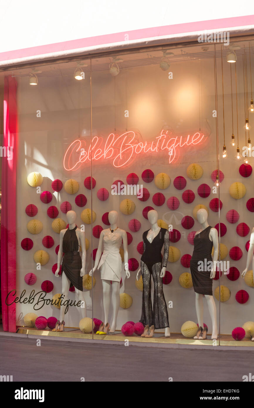 mannequins in window of Celeb Boutique shop at Westfield Shopping Centre, Stratford, London - Stock Image