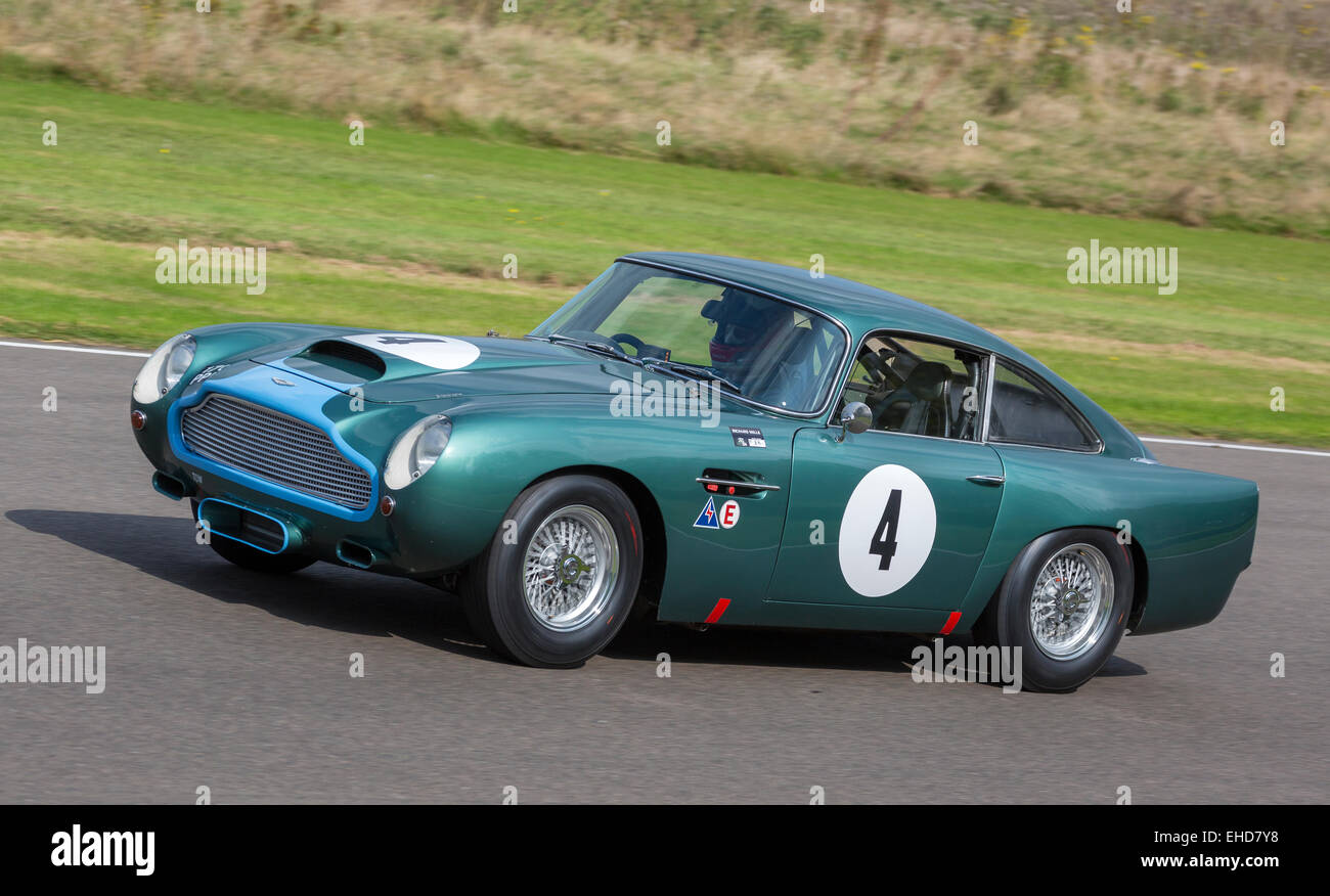 1960 Aston Martin DB4GT with driver Danny Sullivan. RAC TT Celebration race at the 2014 Goodwood Revival, Sussex, Stock Photo