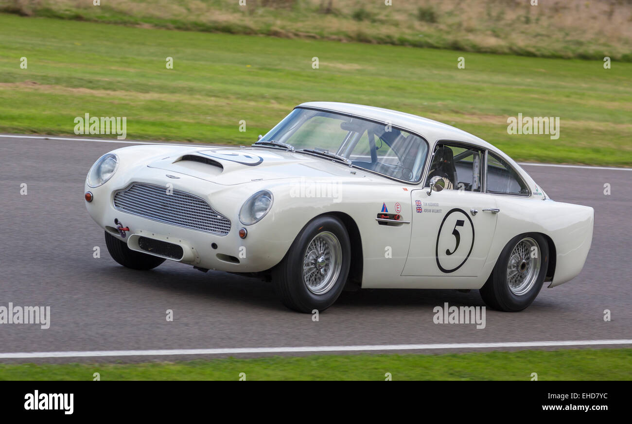 1960 Aston Martin DB4GT with driver Tiff Needell. RAC TT Celebration race. 2014 Goodwood Revival, Sussex, UK. - Stock Image