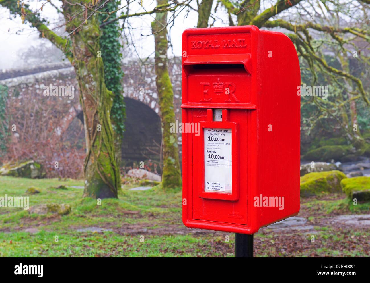 Postbox and bridge, England UK - Stock Image