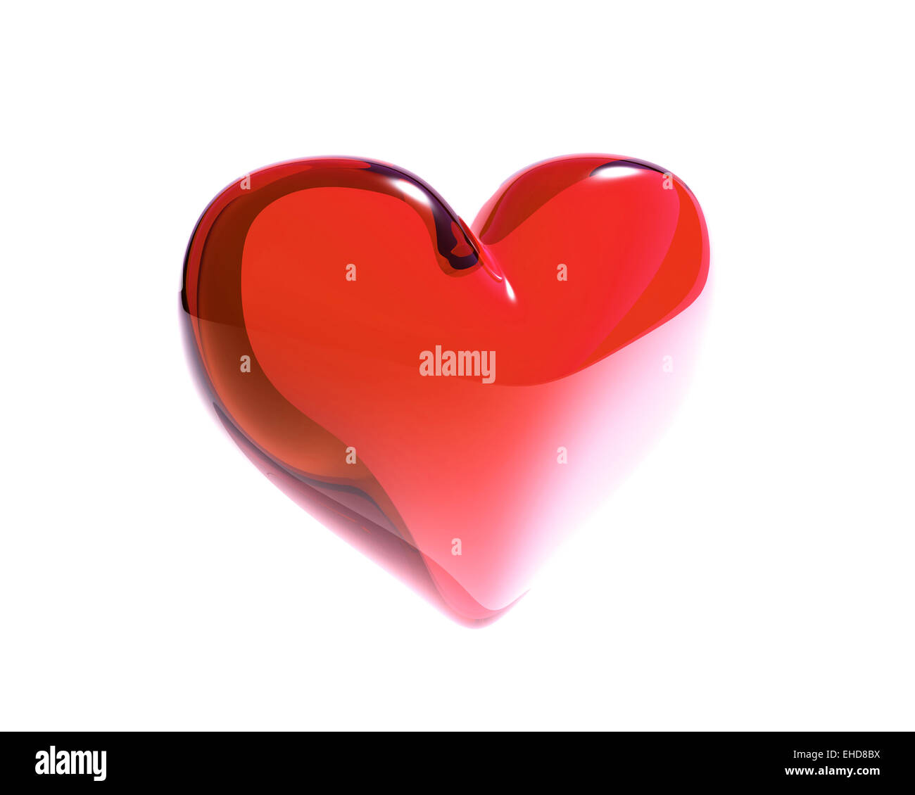 red glass heart isolated - Stock Image