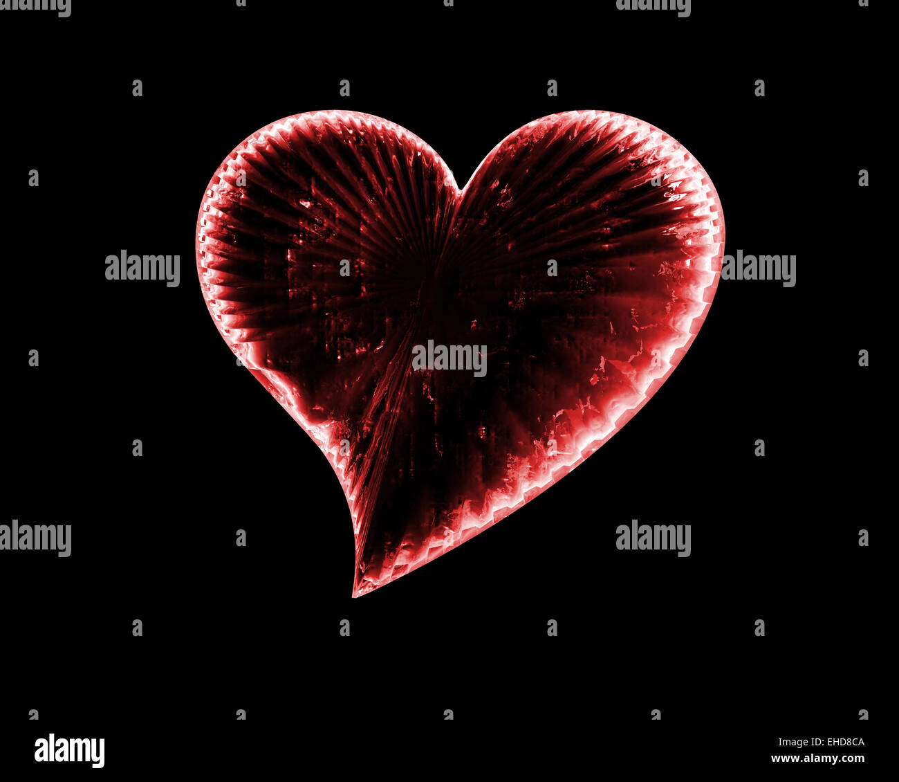 red icy heart in the dark - Stock Image