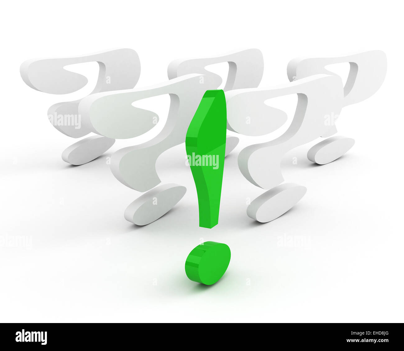 green exclamation mark. leadership concept - Stock Image