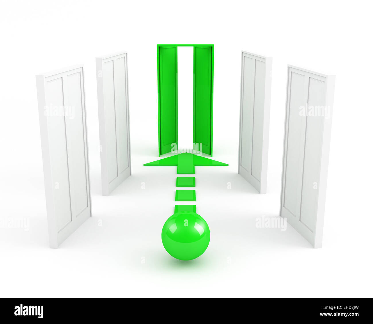 right way. leadership concept. green - Stock Image