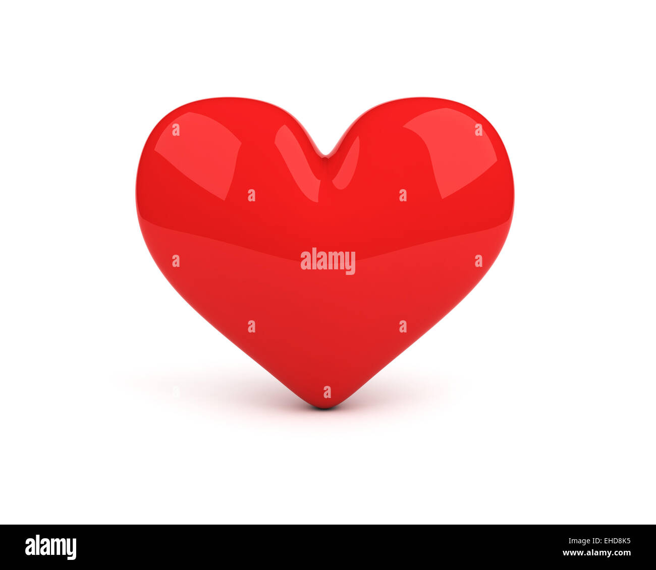 red heart over white background - Stock Image