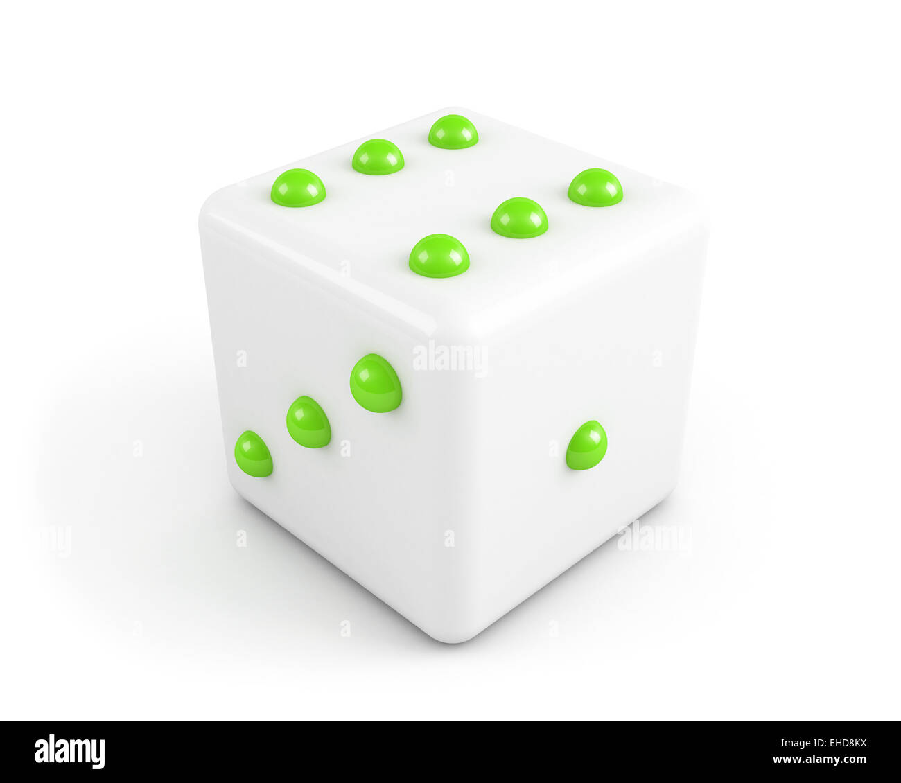 dice with bright green dots - Stock Image