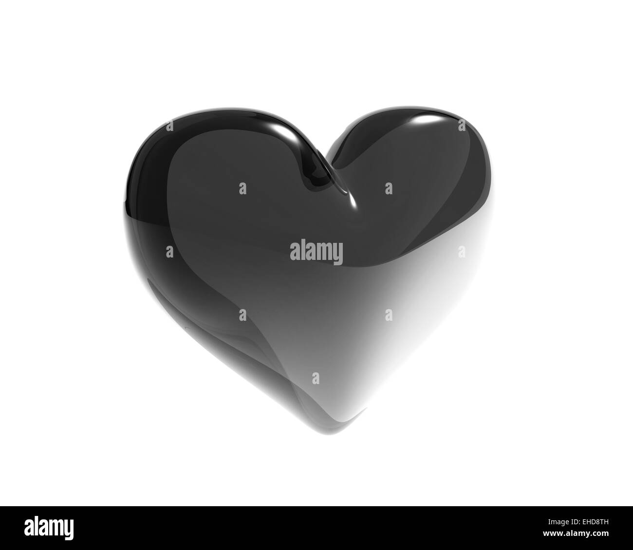 black glass heart isolated - Stock Image