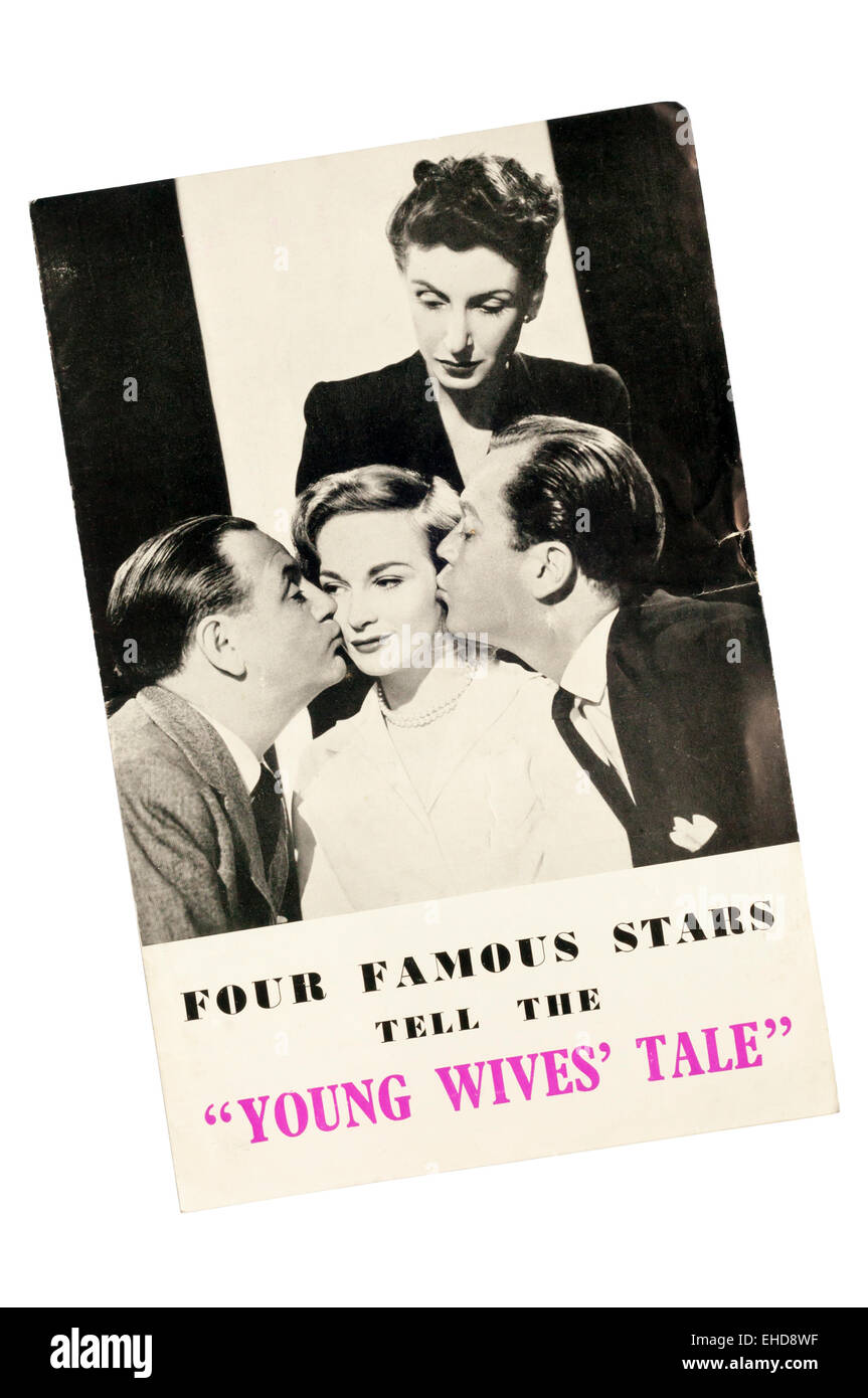 Front cover of the programme for Young Wives' Tale by Ronald Jeans at the Savoy Theatre.  DETAILS IN DESCRIPTION. - Stock Image