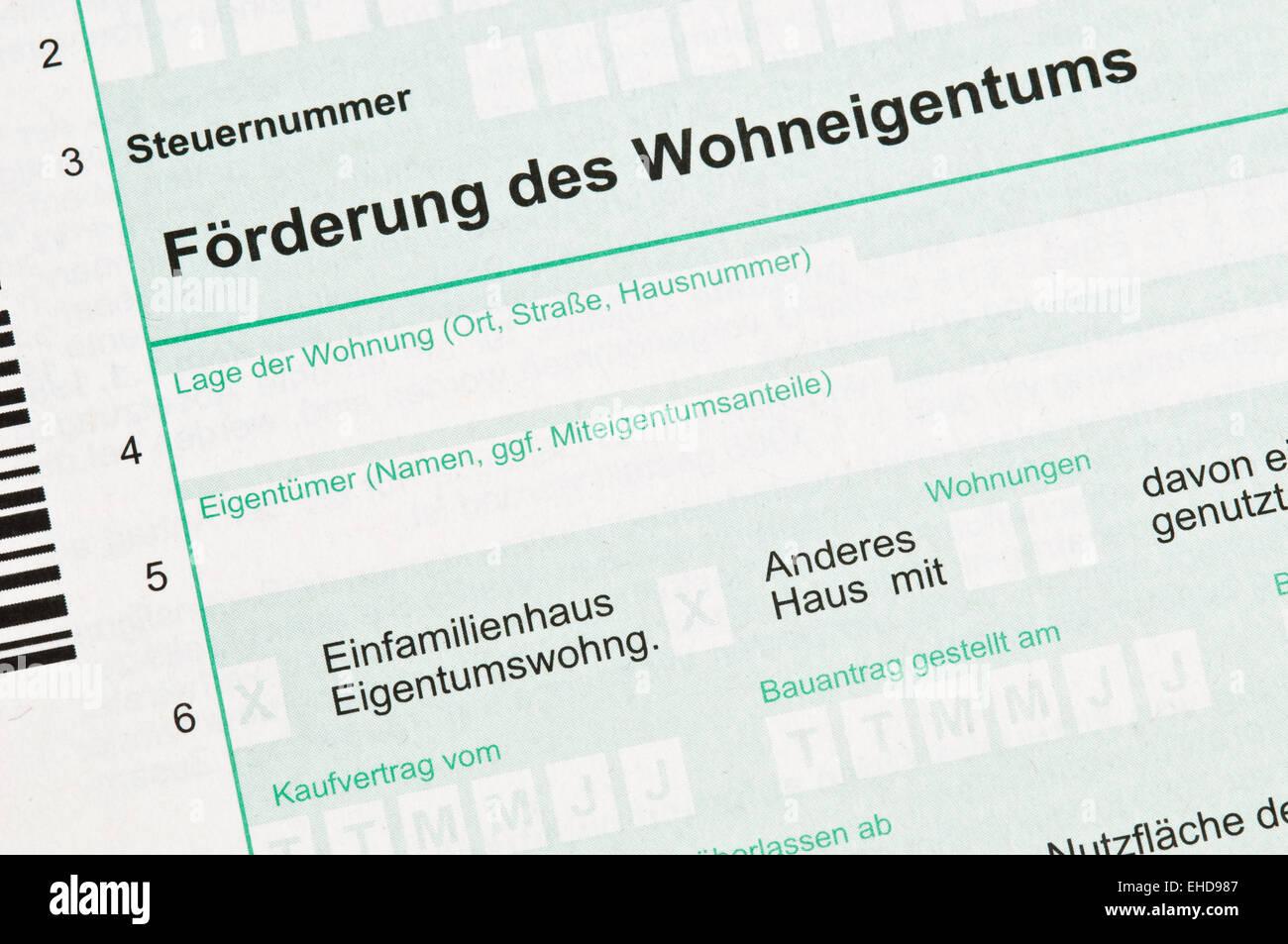 Förderung Wohneigentum / German income tax Stock Photo