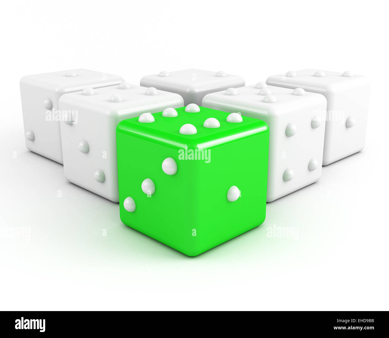 dices leadership concept. green - Stock Image