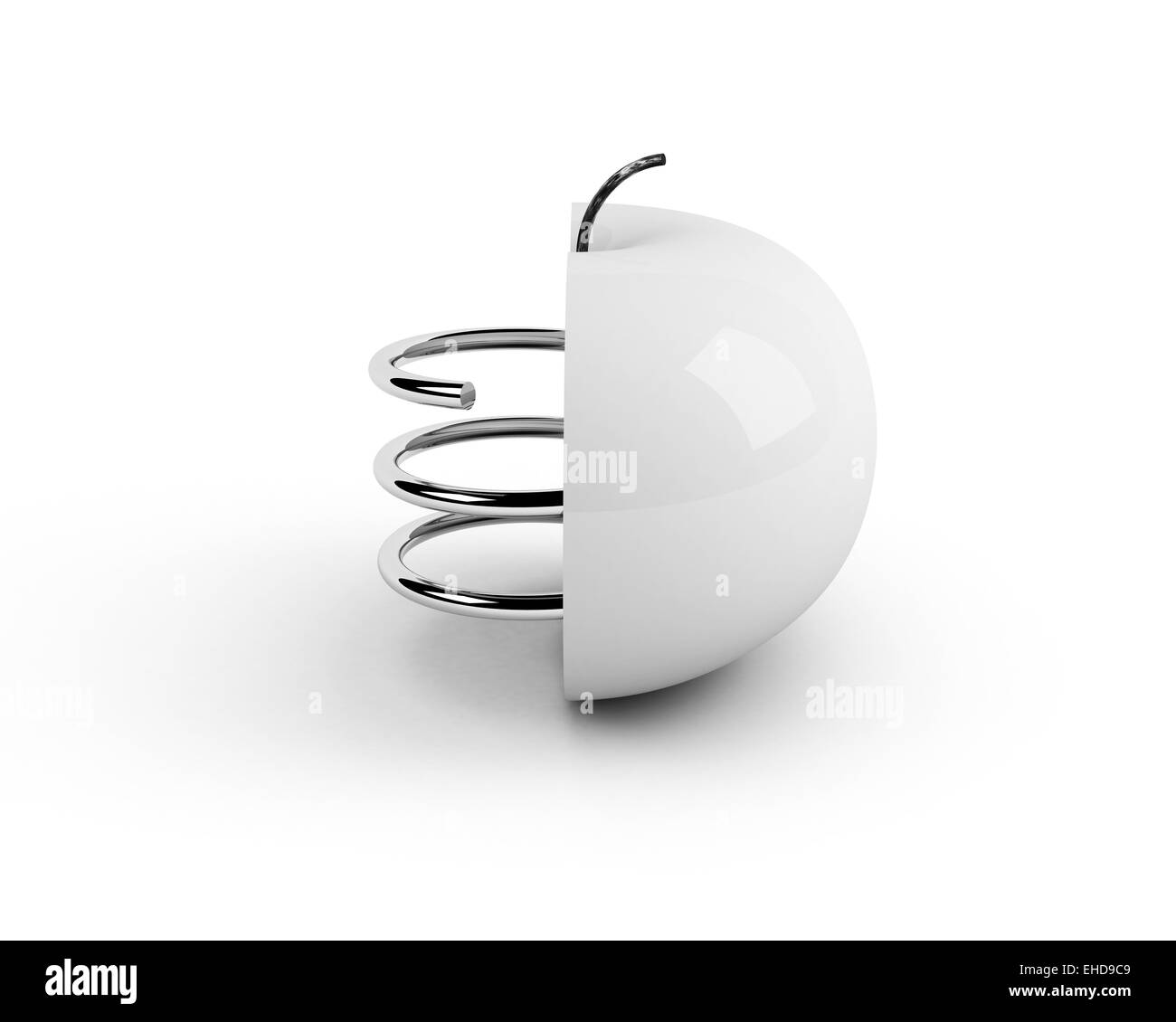 white artificial apple. technological concept - Stock Image