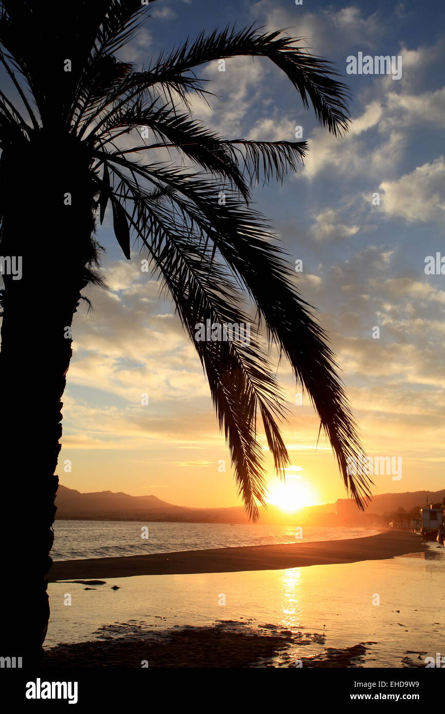 Sunset above the beach of Cannes la Bocca - Stock Image