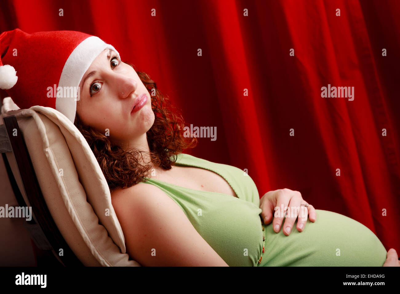 Full term pregnant woman. - Stock Image
