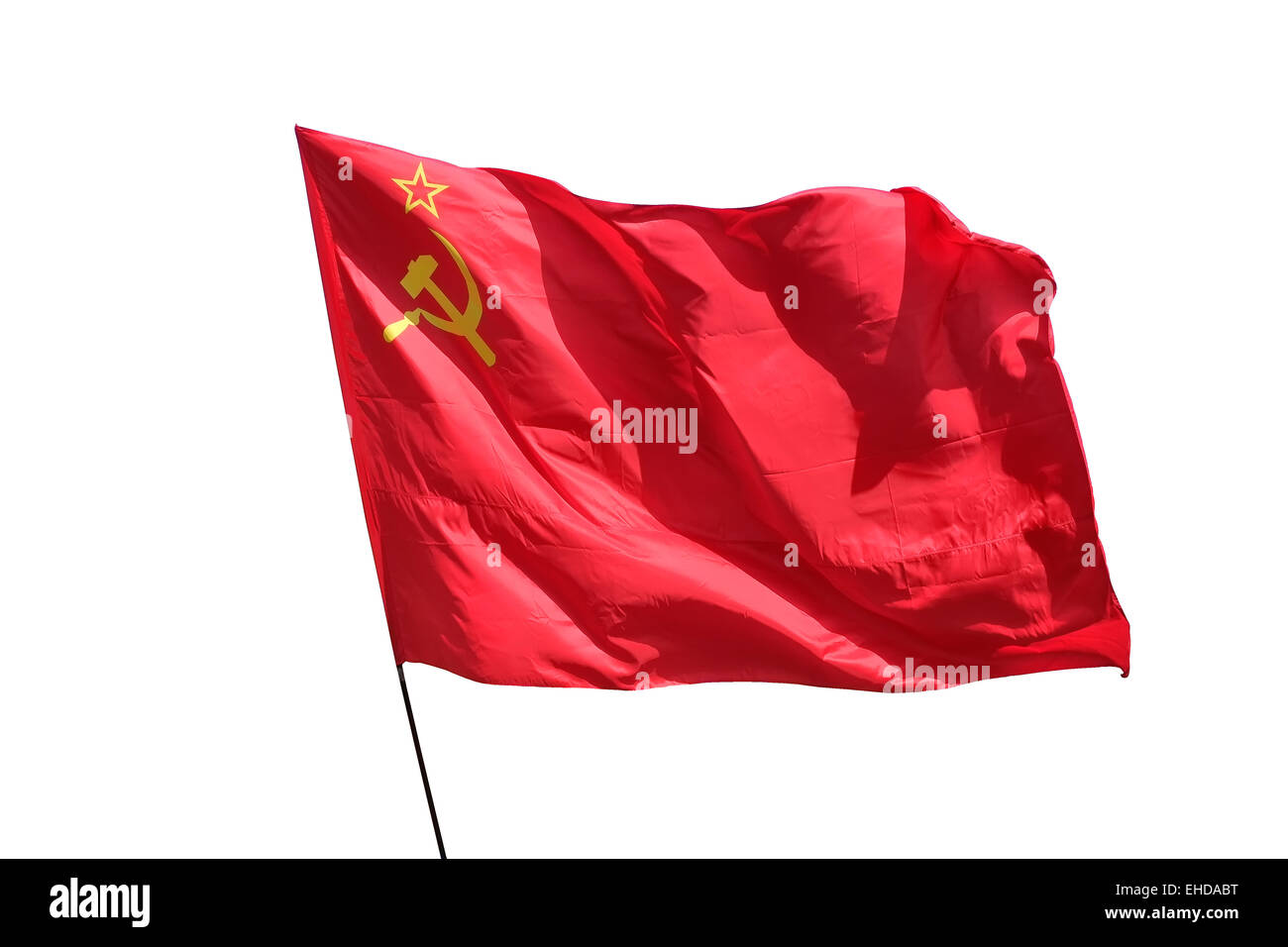 The flag of the Soviet Union (USSR) waving in the wind. Stock Photo