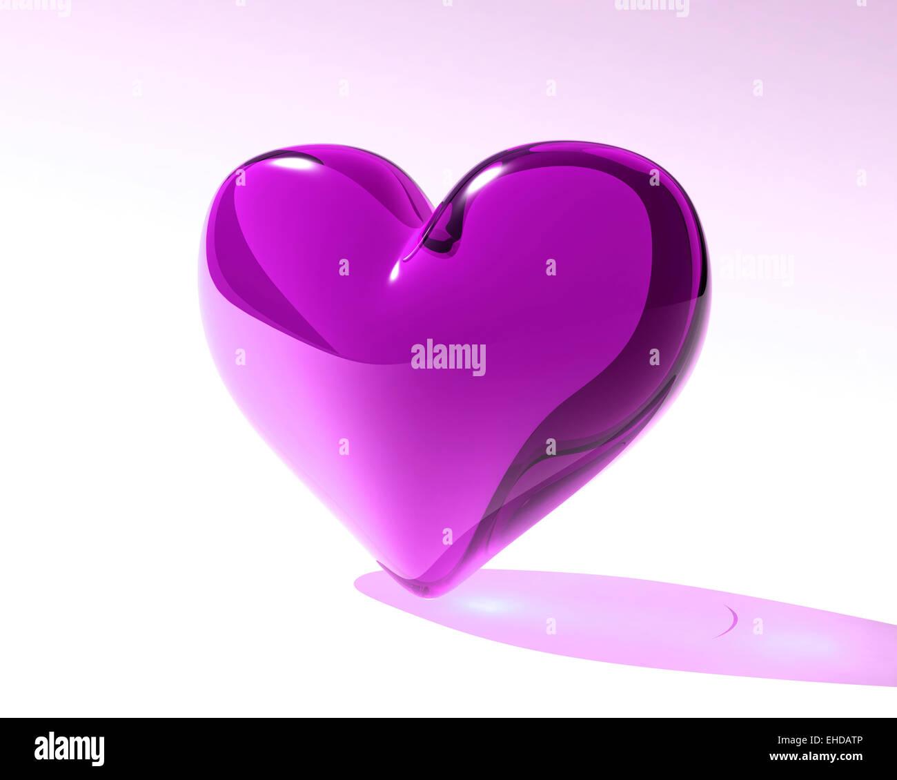 violet glass heart - Stock Image