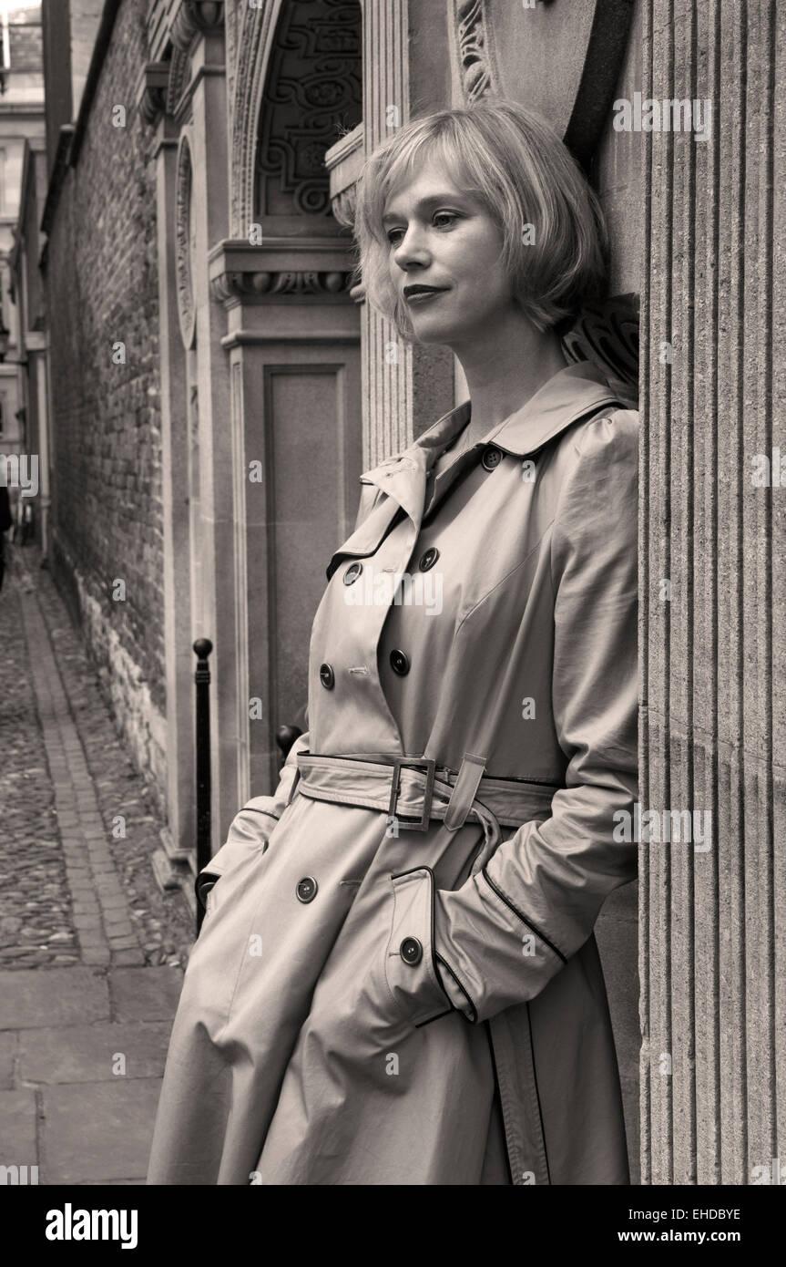 Fashion portrait, Cambridge England, monochrome - Stock Image