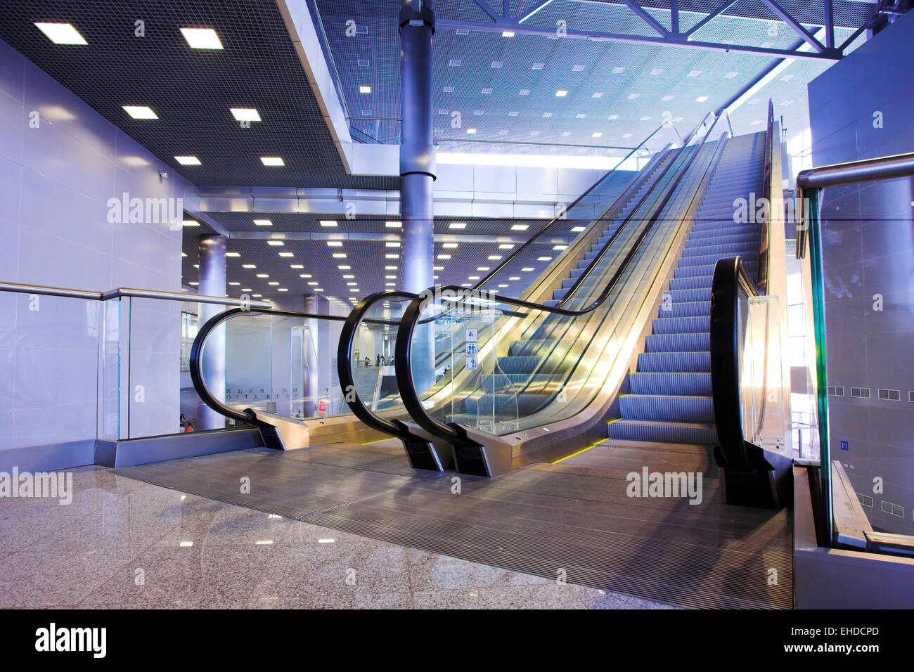 Escalators in exhibition centre Stock Photo