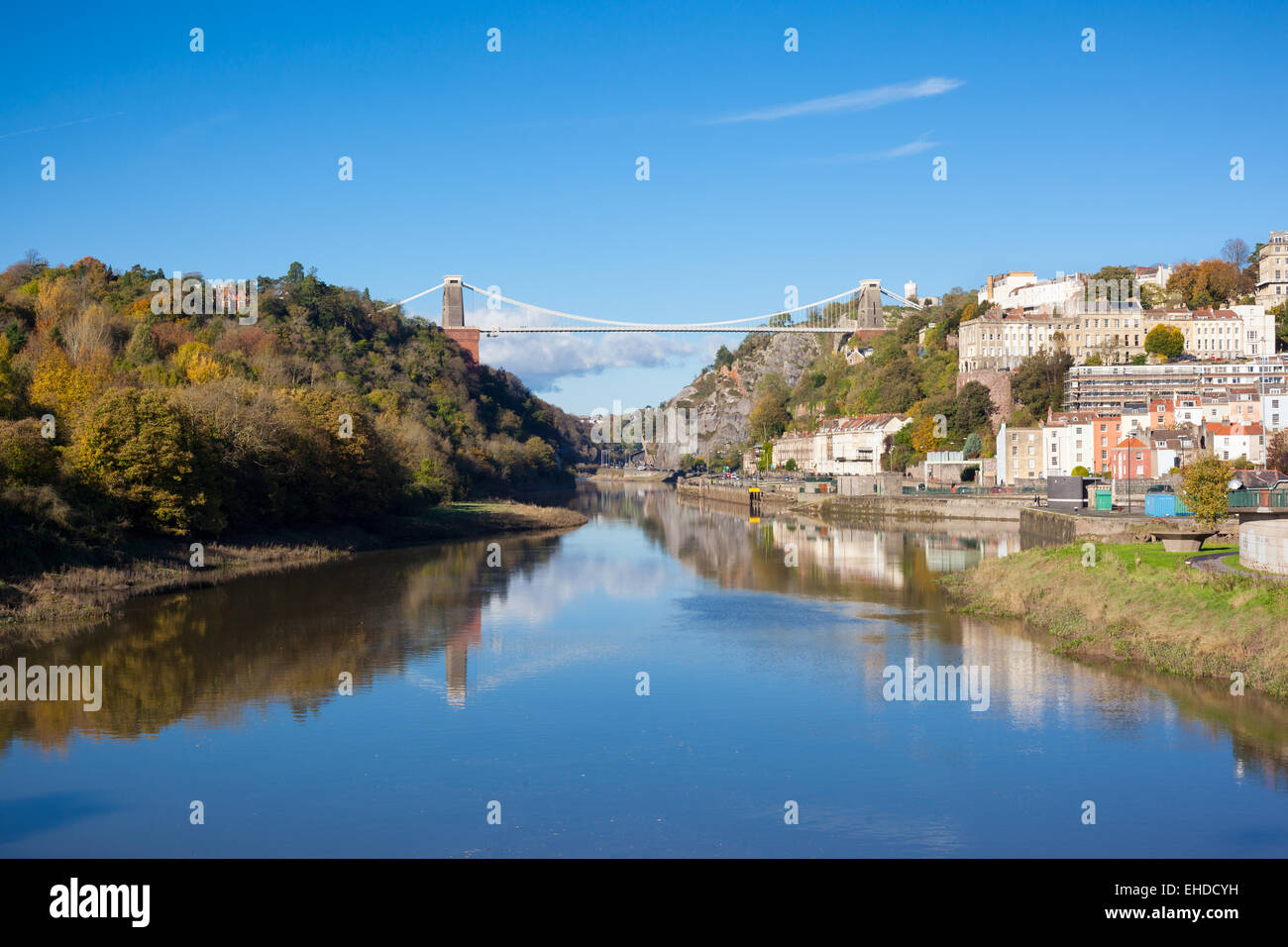 Wide view of Clifton Suspension Bridge which spans the Avon Gorge in Bristol, England, UK - Stock Image
