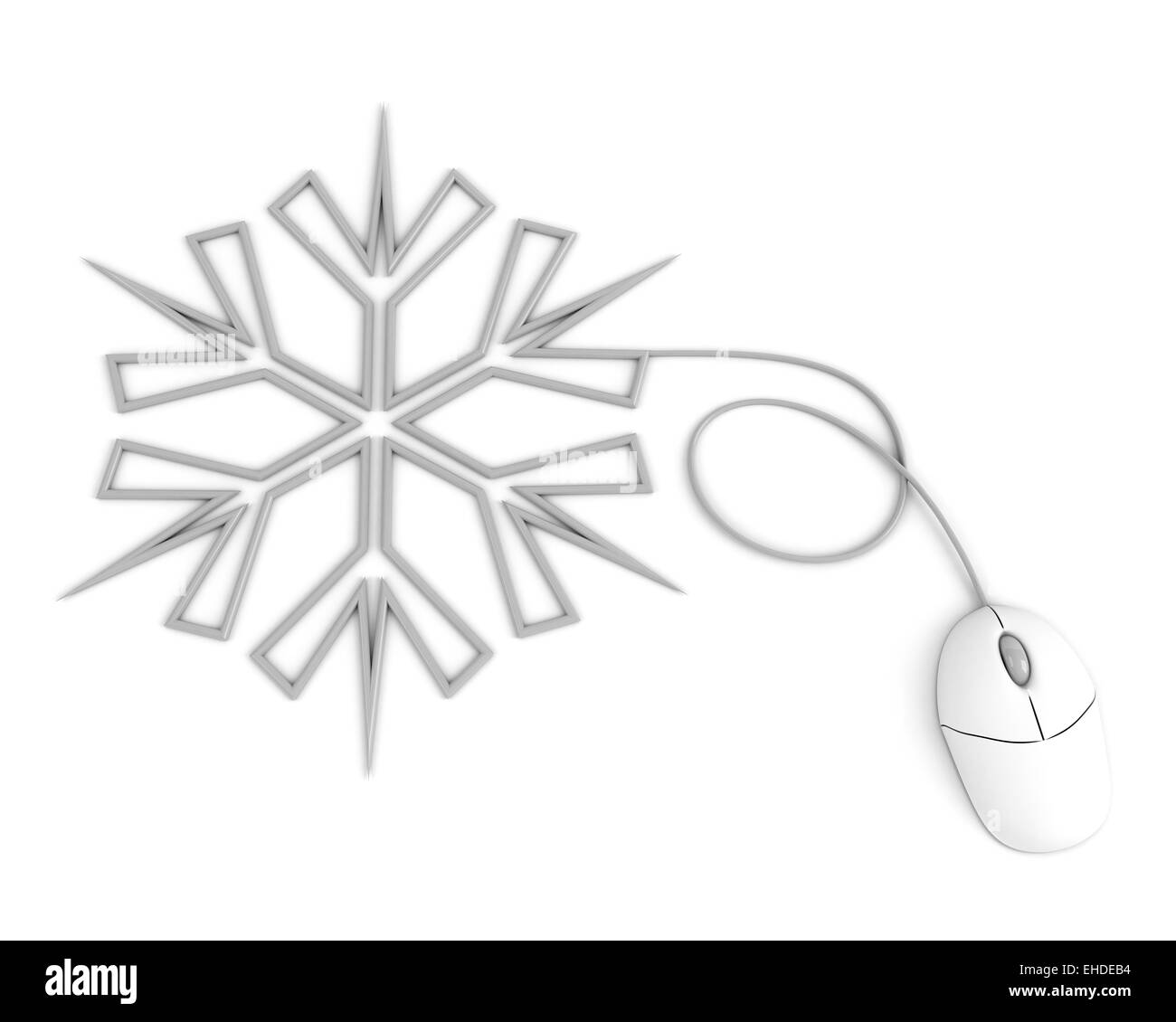 snowflake depicted with computer mouse - Stock Image