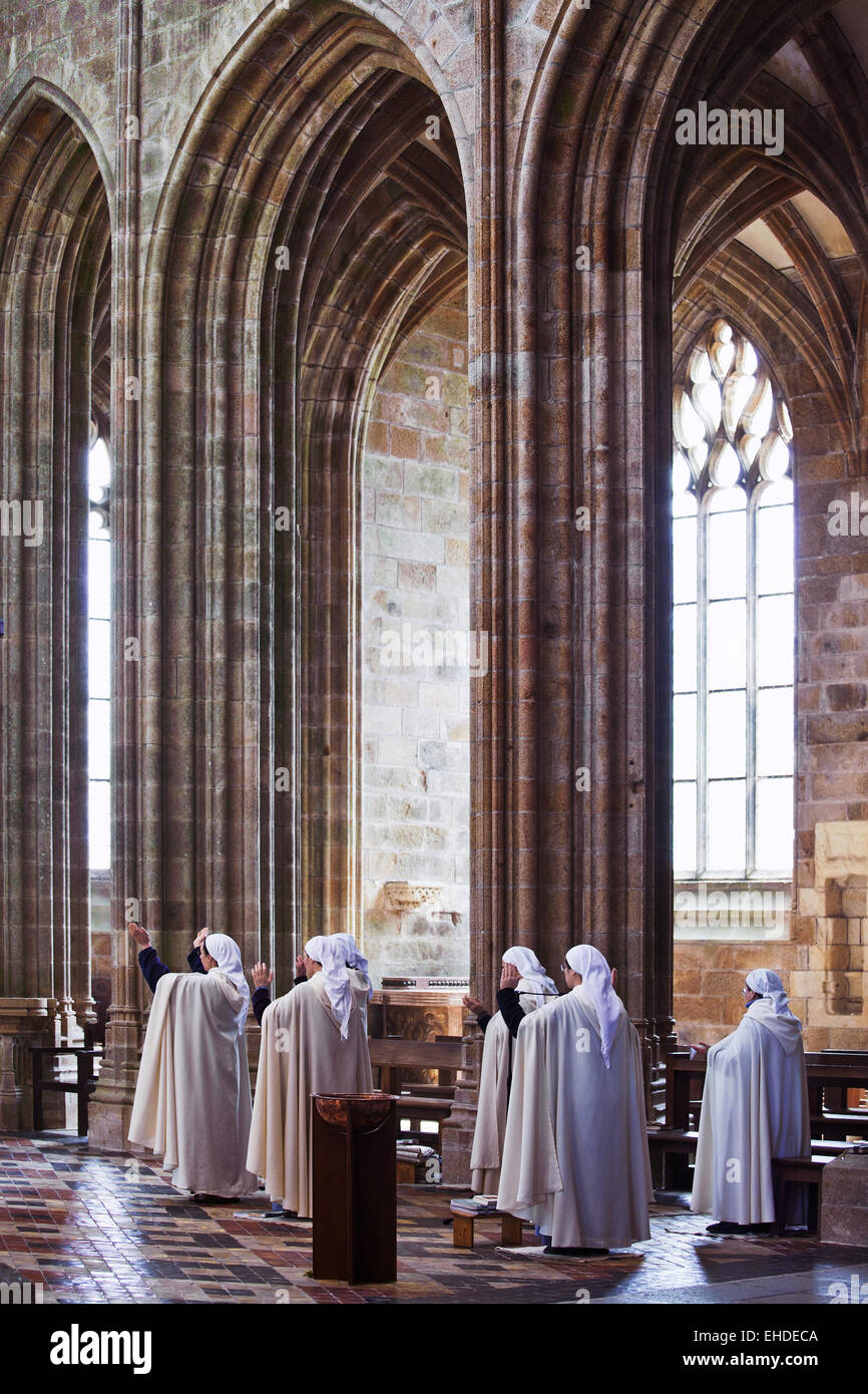 inside the abbatial church, Mont St. Michel - Stock Image