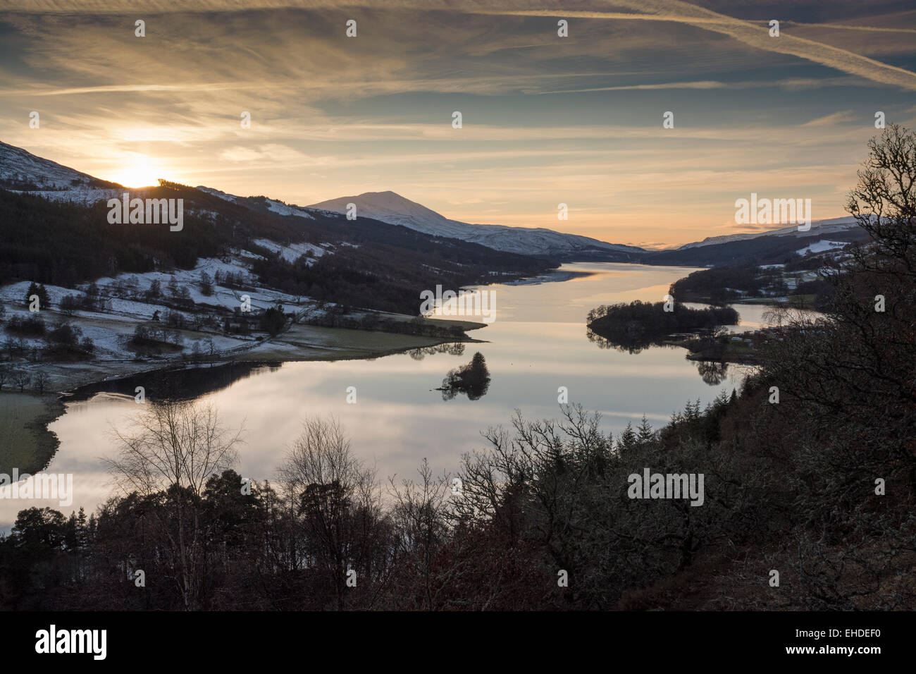 queen's view loch tummel at sunset in winter, perthshire - Stock Image