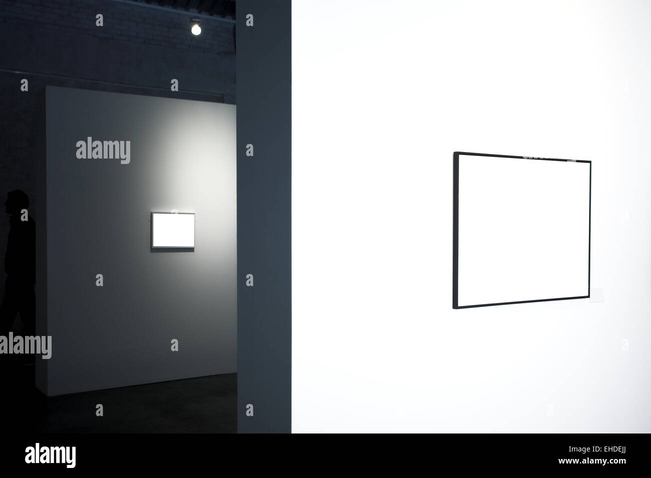 Empty frames on white wall in museum Stock Photo: 79587498 - Alamy