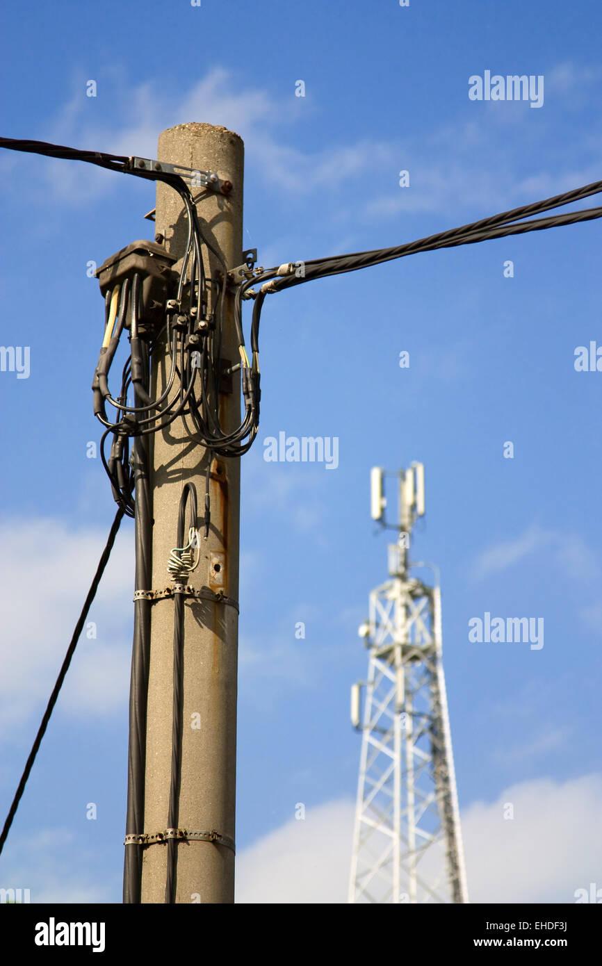 Telegrafenmast - Telephon pole - Stock Image