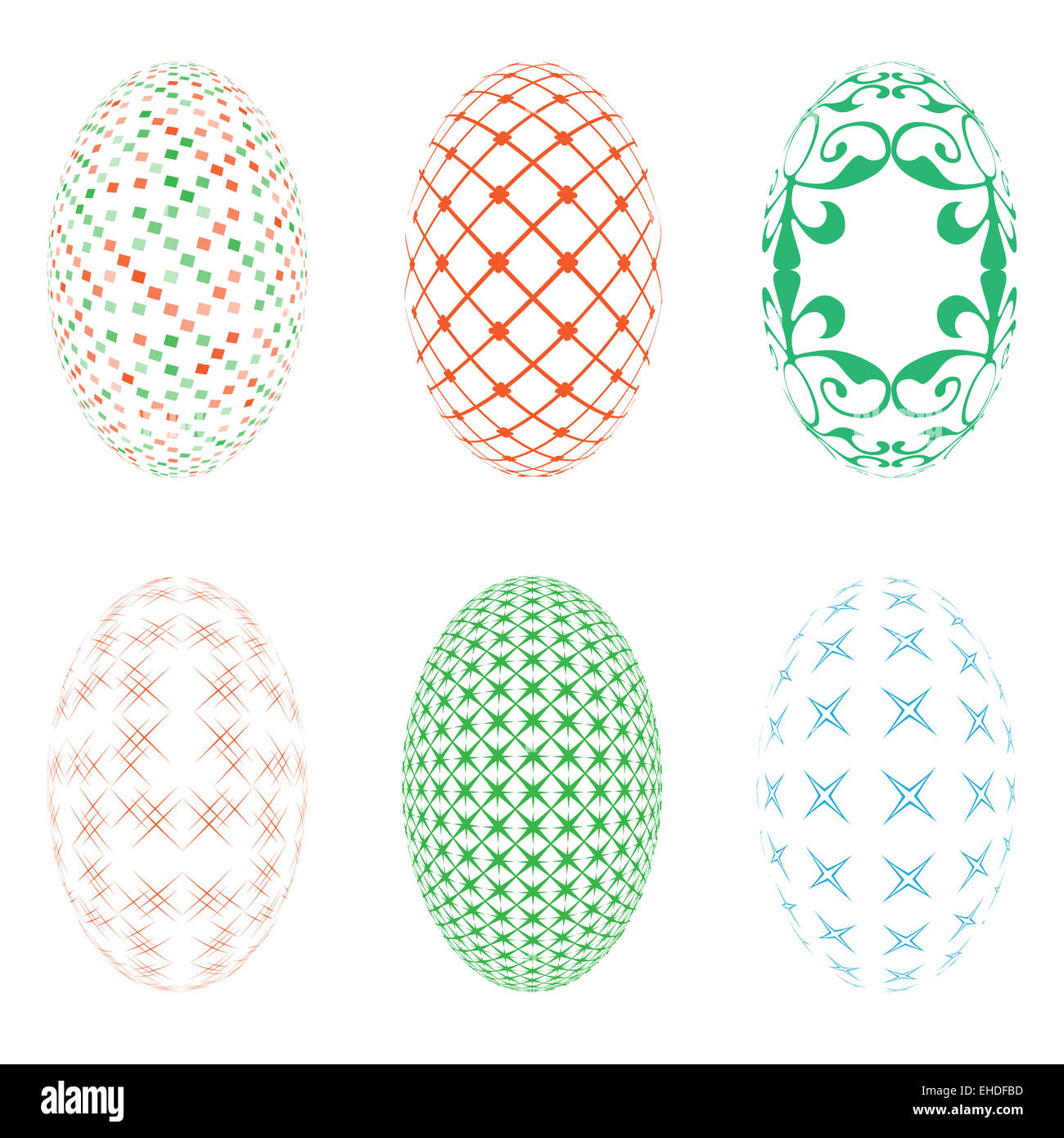 Illustration of six easter eggs on a white background - Stock Image