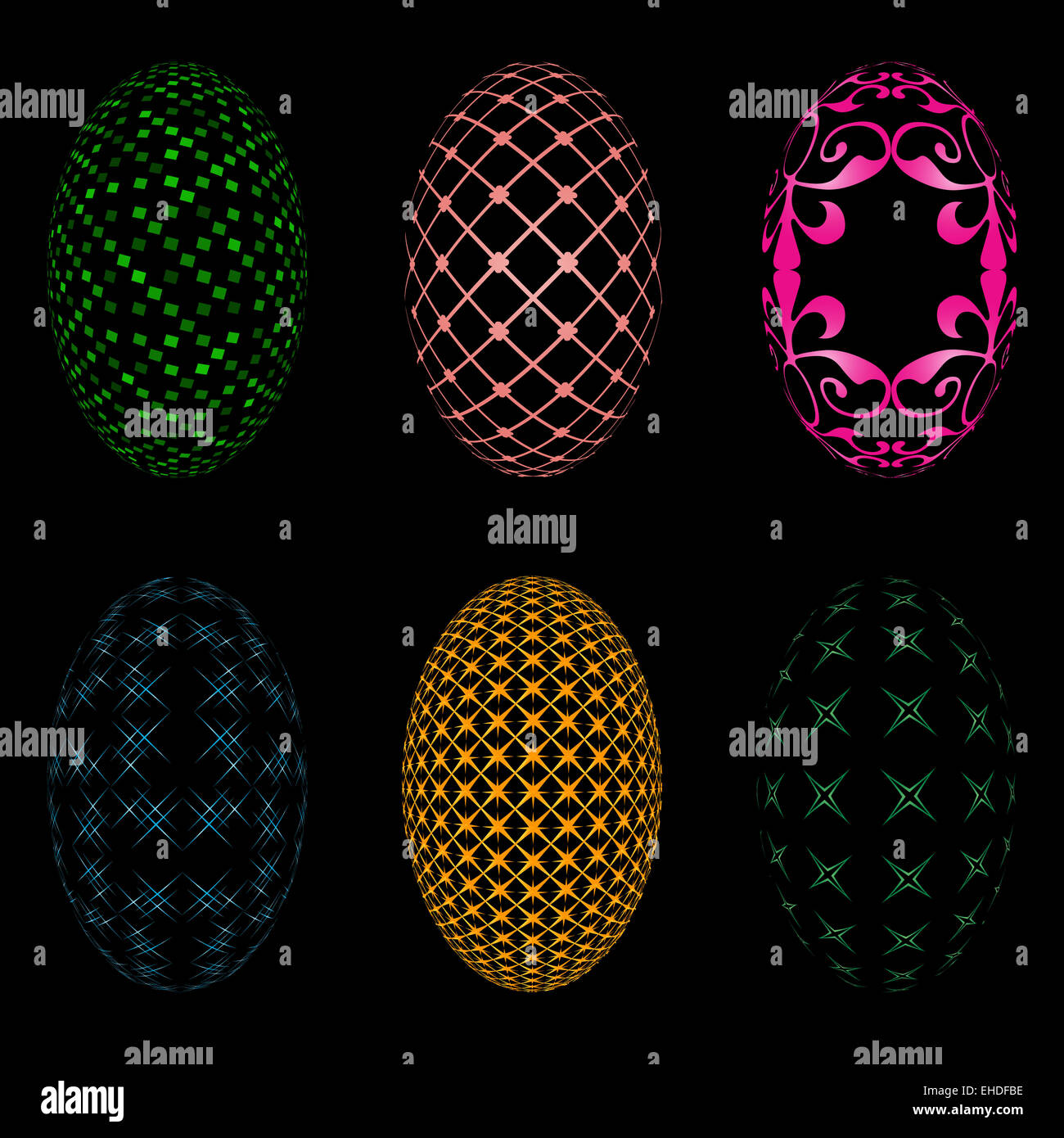 Illustration of six easter eggs on a black background - Stock Image