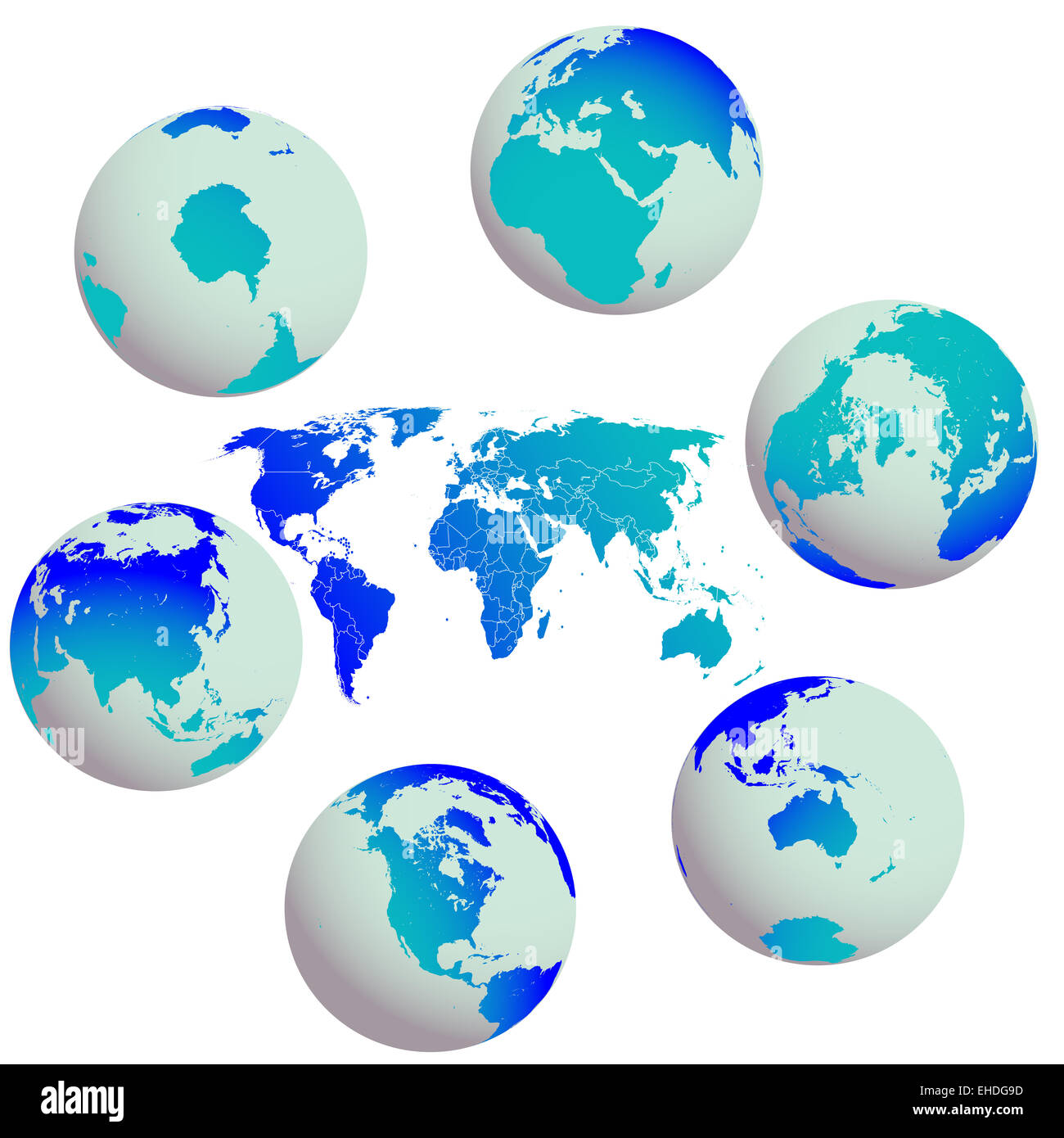 earth globes and world map against white - Stock Image